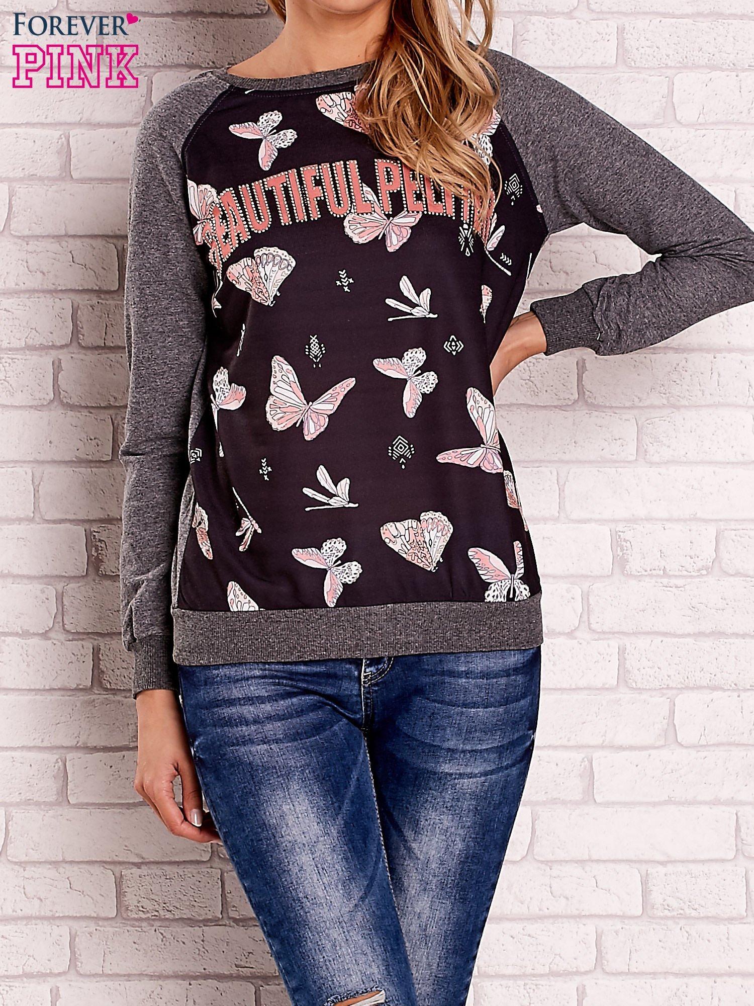 Ciemnoszara bluza z napisem BEAUTIFUL PELITER i motywem motyli                                  zdj.                                  1