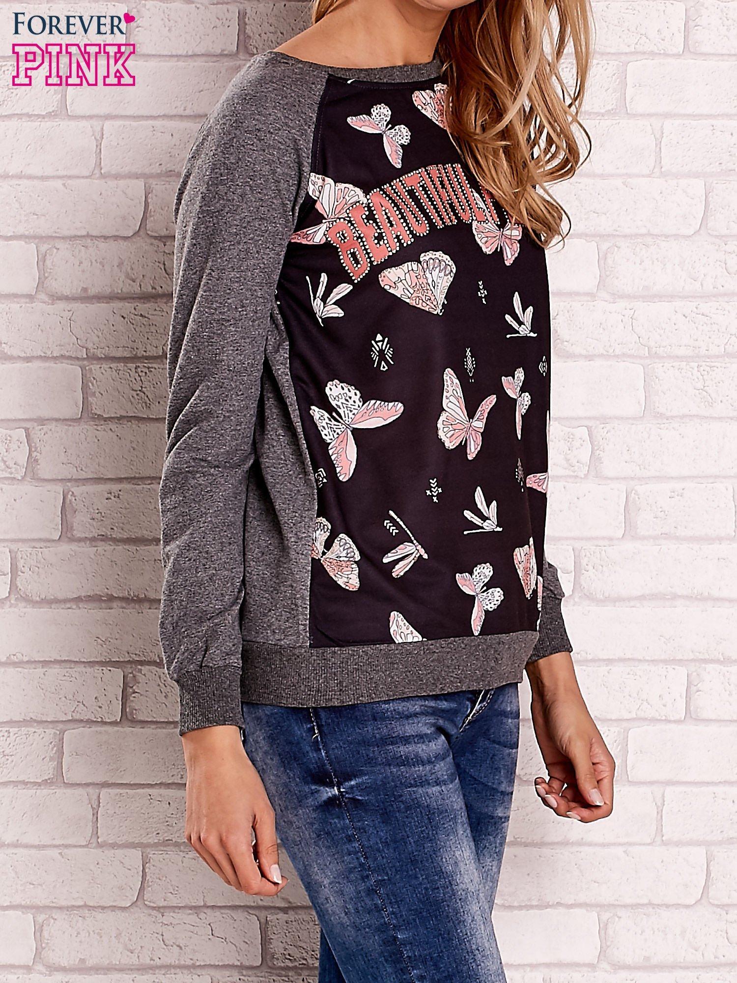 Ciemnoszara bluza z napisem BEAUTIFUL PELITER i motywem motyli                                  zdj.                                  3