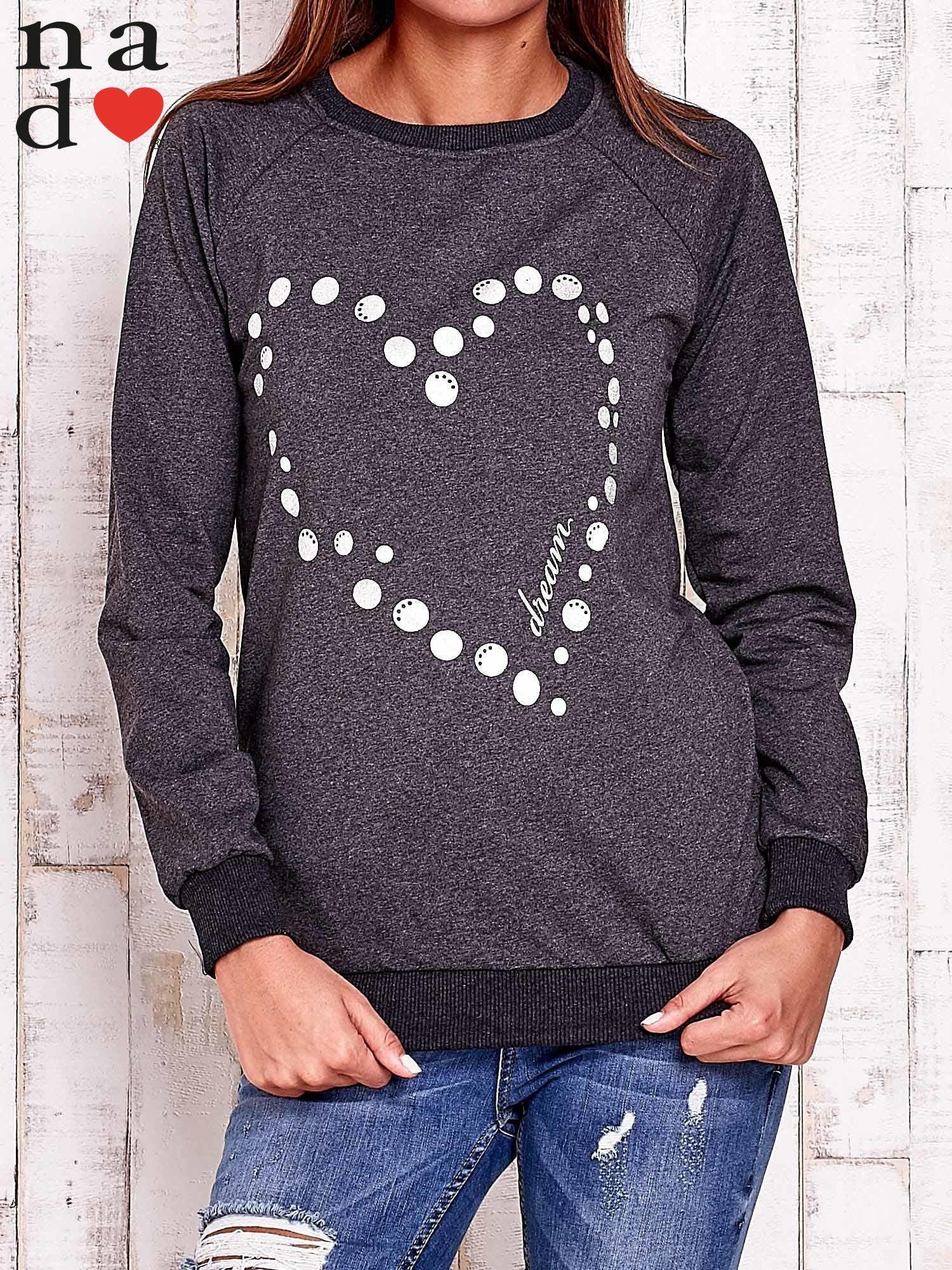 Ciemnoszara bluza z wzorem serca                                  zdj.                                  1