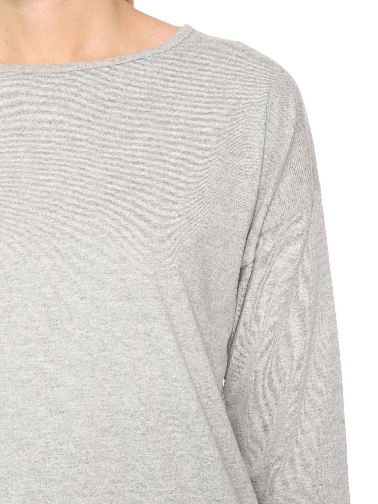 Ciemnoszara bluzka z rękawem 3/4 i lekkim ściągaczem na dole                                  zdj.                                  5