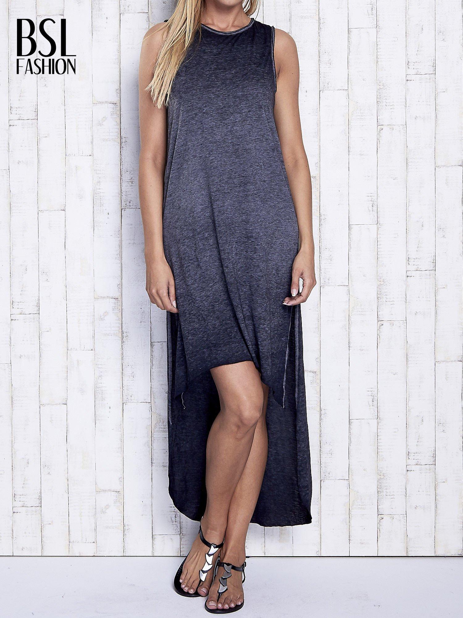 Ciemnoszara dekatyzowana sukienka maxi z dłuższym tyłem                                  zdj.                                  1