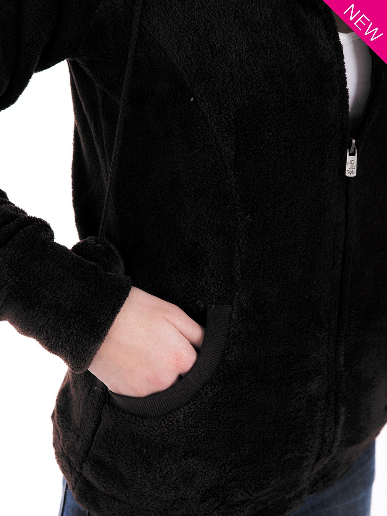 Ciemnoszara pluszowa bluza z kapturem z uszkami i pomponami                                  zdj.                                  6