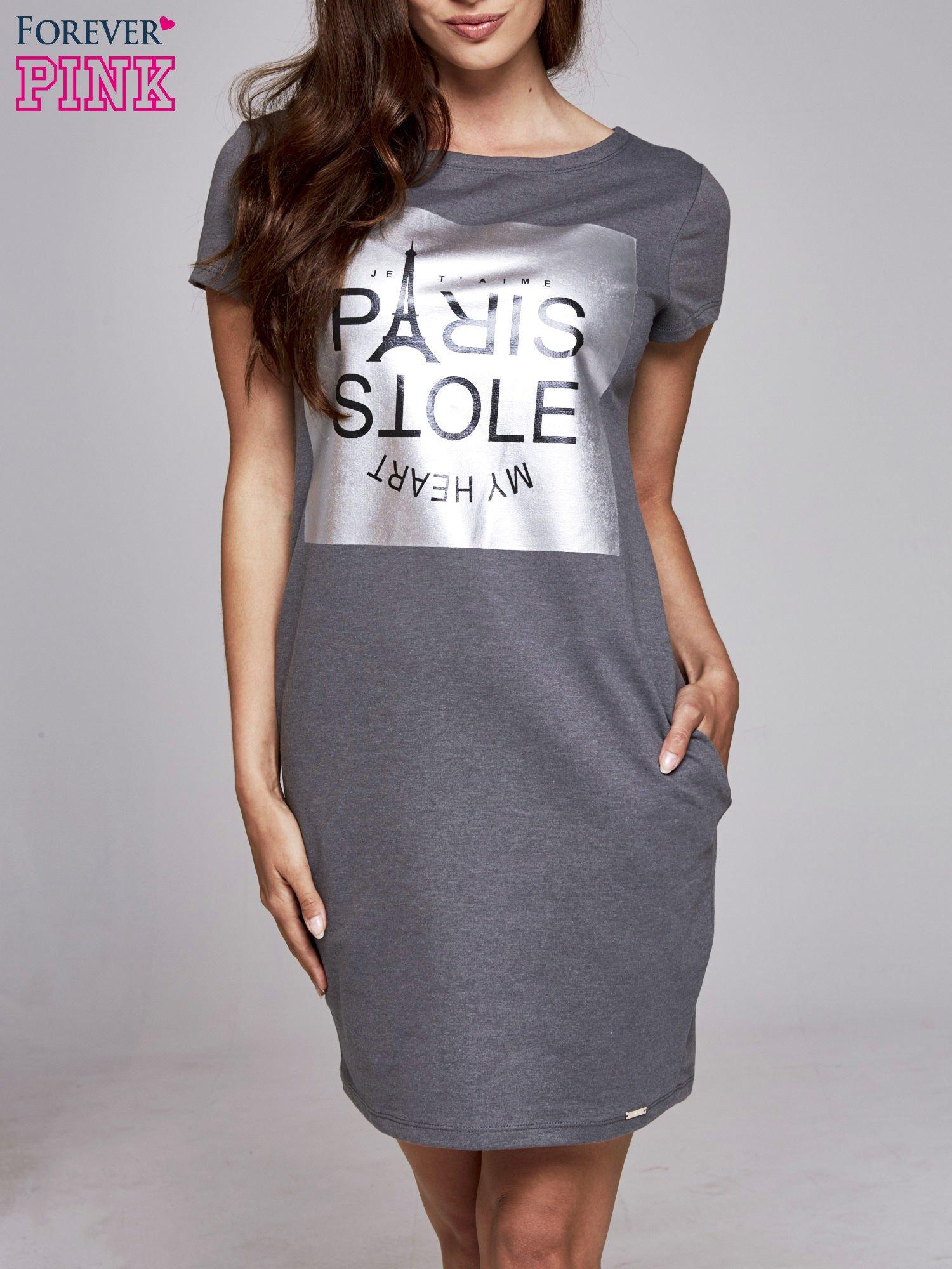 Ciemnoszara sukienka dresowa ze srebrnym printem PARIS                                  zdj.                                  1