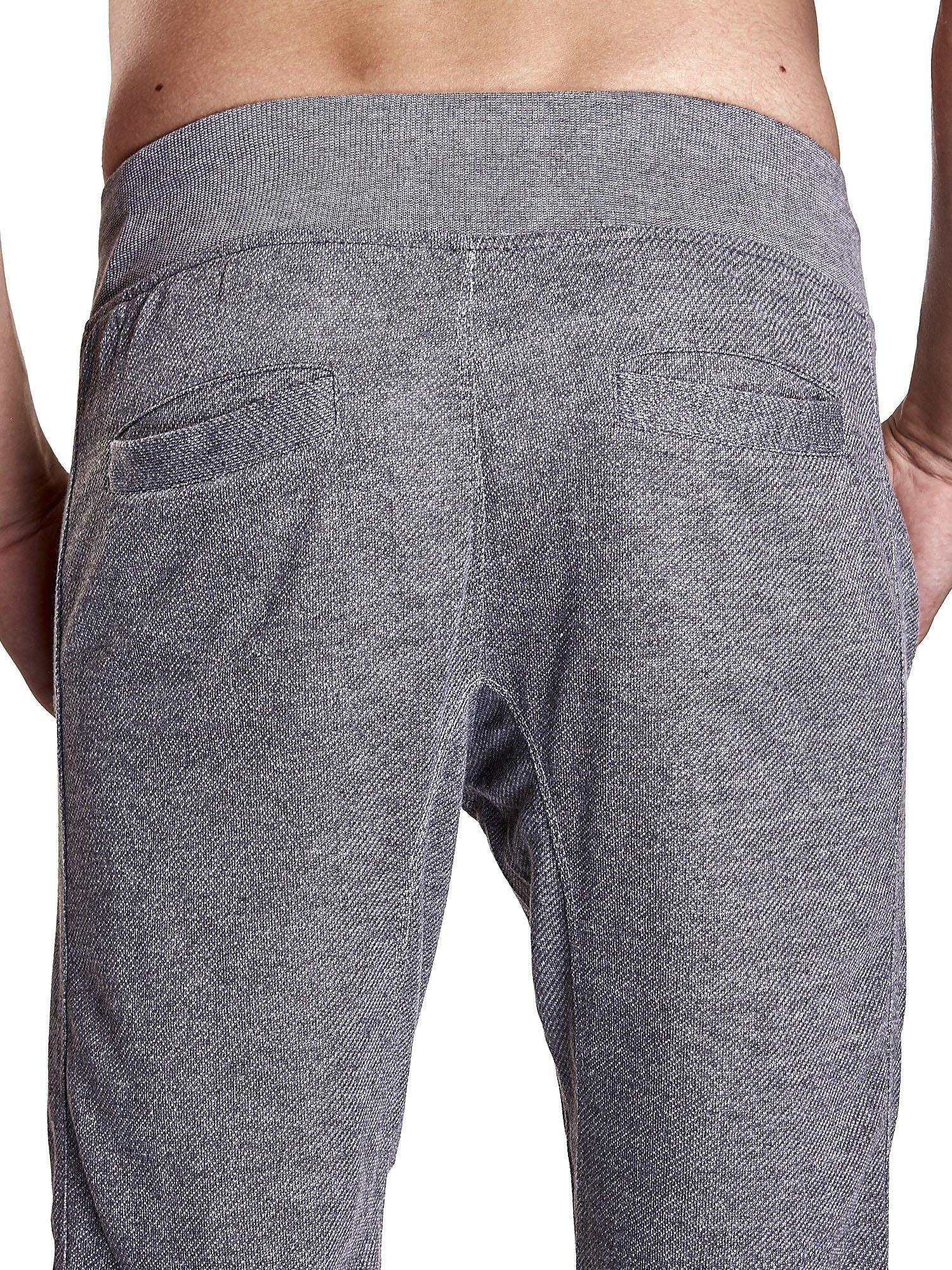 Ciemnoszare melanżowe spodnie męskie z trokami i kieszeniami                                  zdj.                                  7