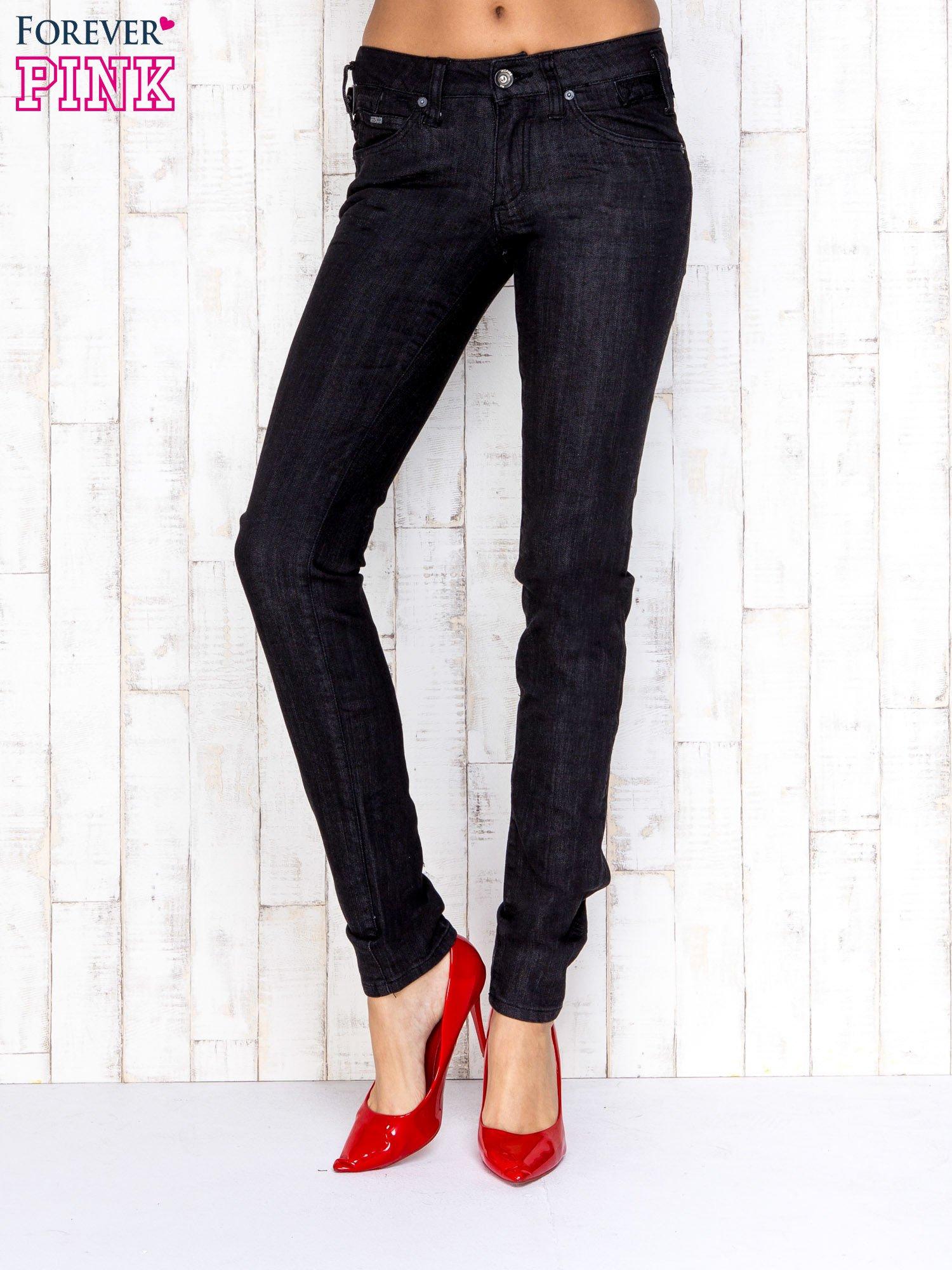 Ciemnoszare przecierane spodnie jeansowe regular jeans                                  zdj.                                  1