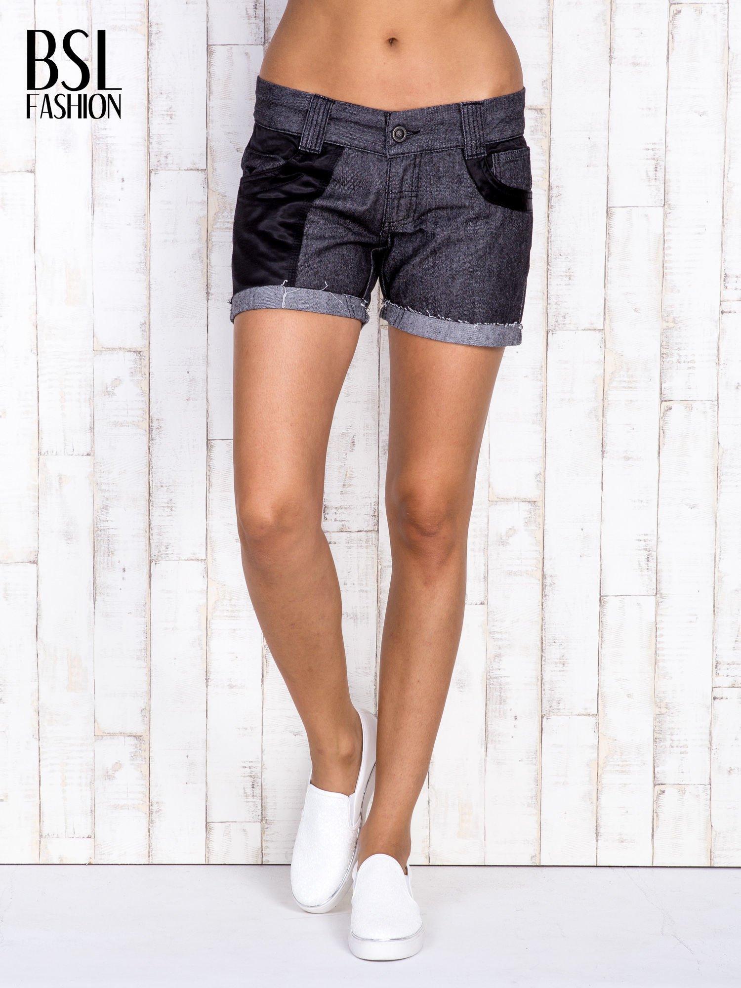 Ciemnoszare szorty jeansowe z materiałowymi wstawkami                                  zdj.                                  3