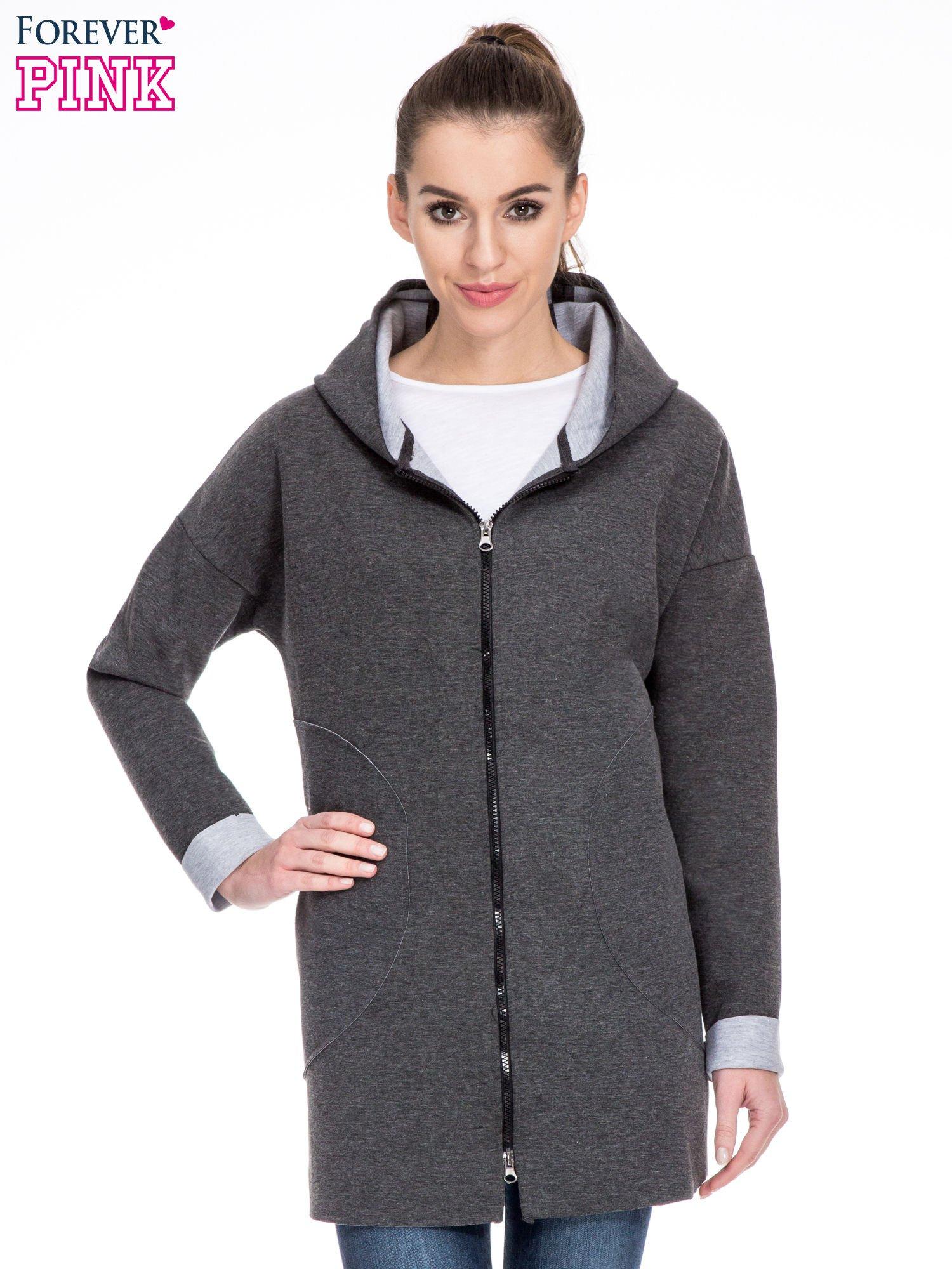 Ciemnoszary dresowy płaszcz oversize z kapturem                                  zdj.                                  1