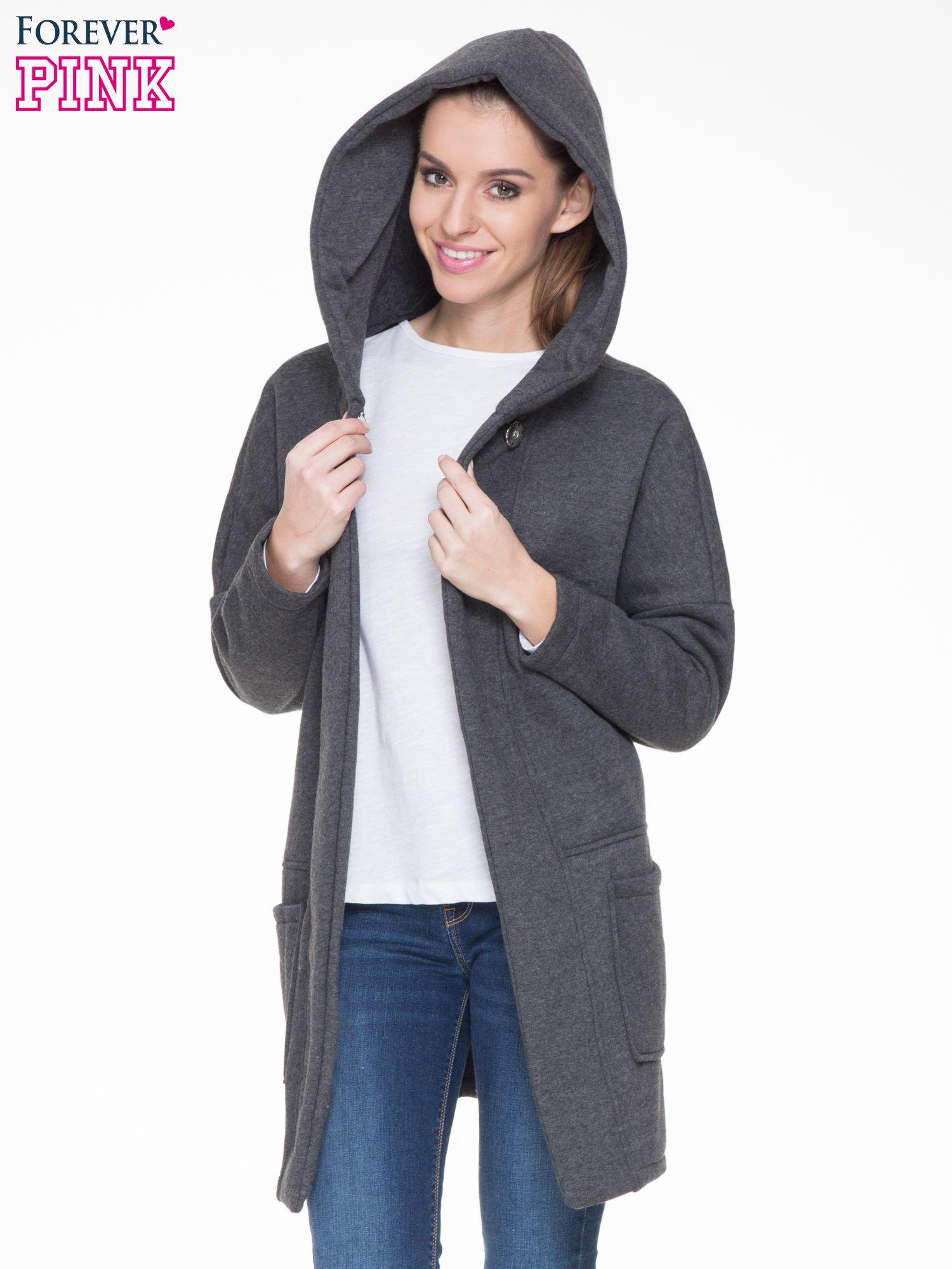 Ciemnoszary dresowy płaszcz z kapturem i kieszeniami                                  zdj.                                  5