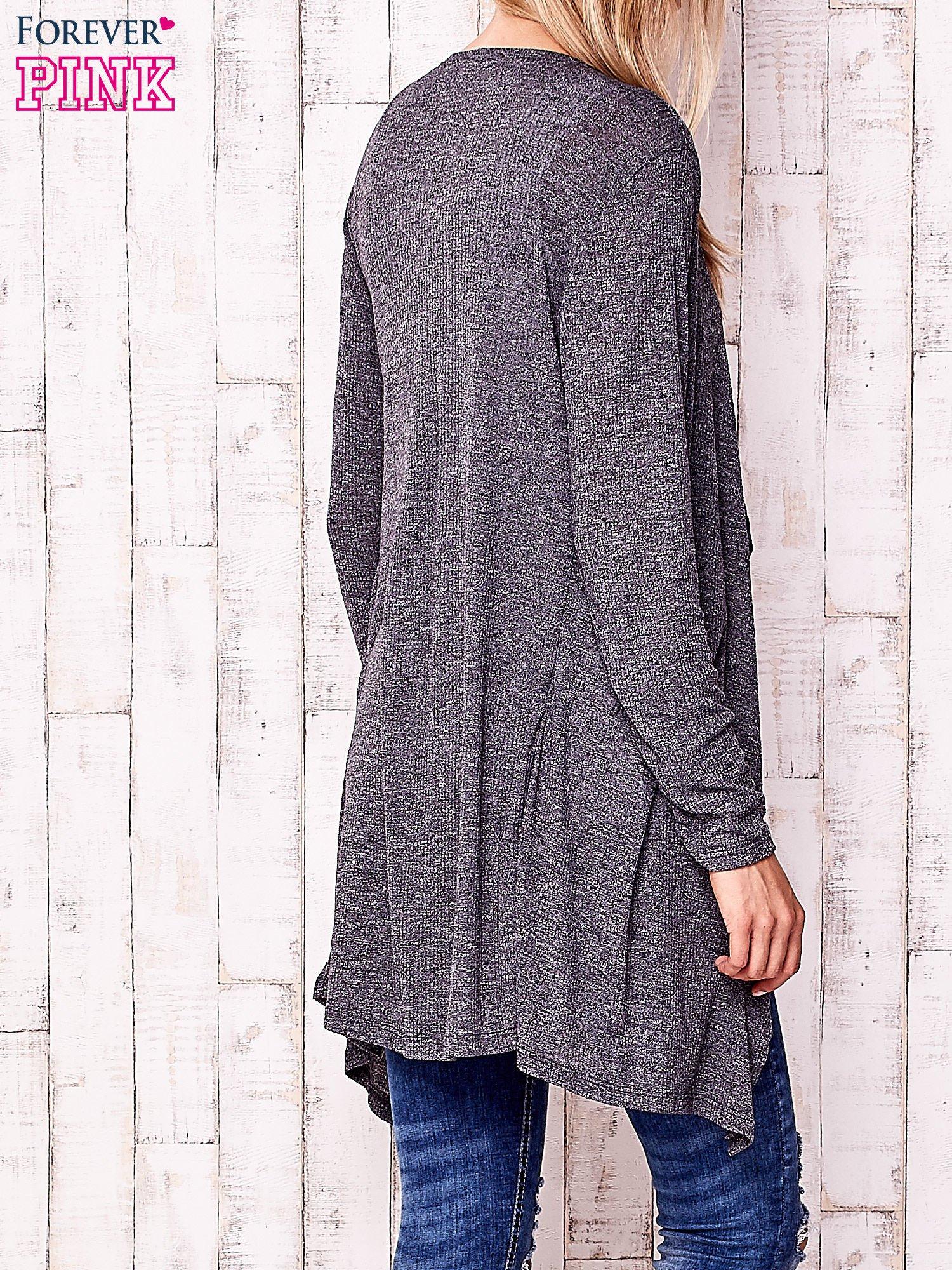 Ciemnoszary melanżowy sweter w drobne prążki                                  zdj.                                  4
