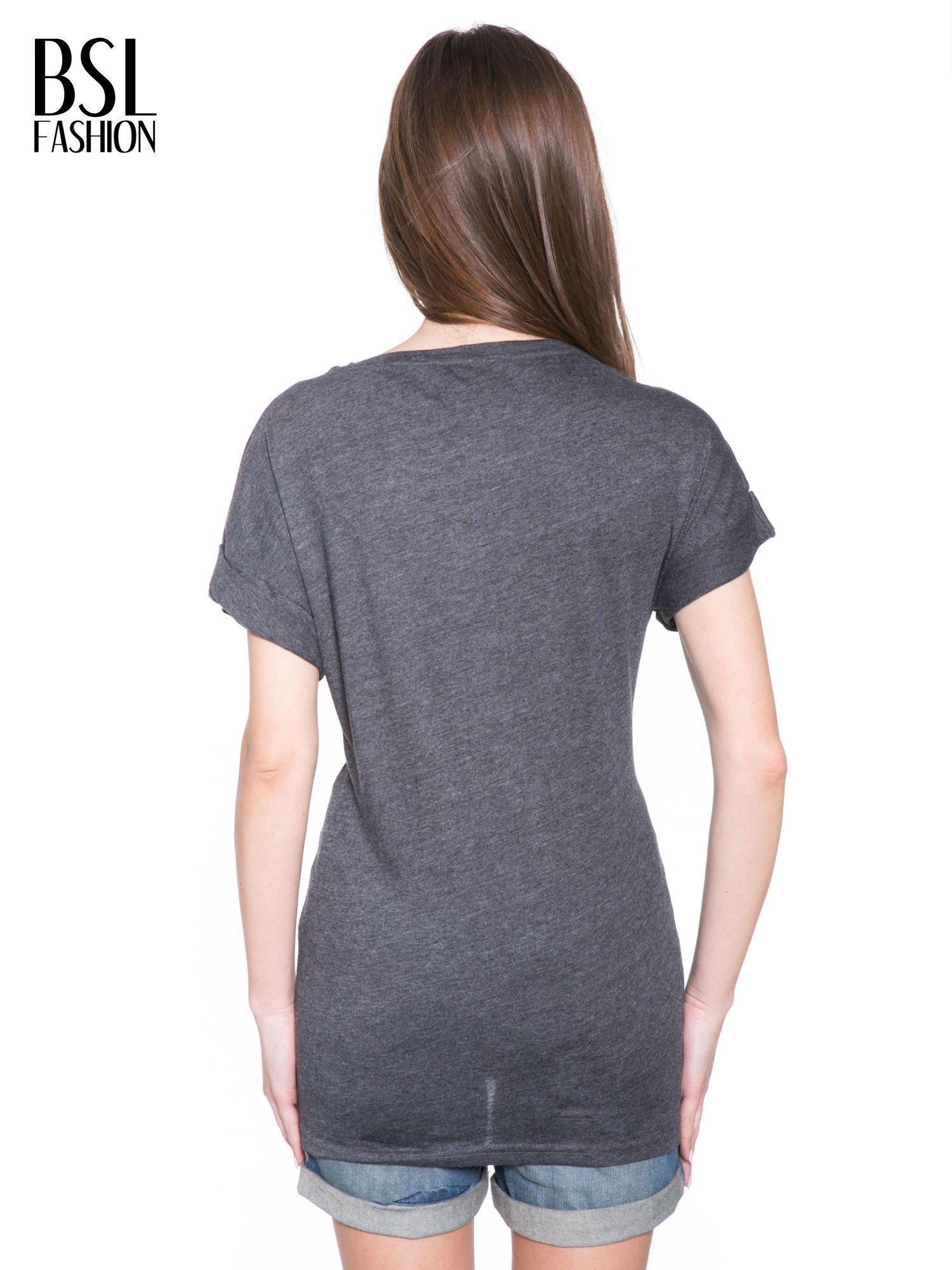 Ciemnoszary t-shirt z logo THE ROLLING STONES                                  zdj.                                  4