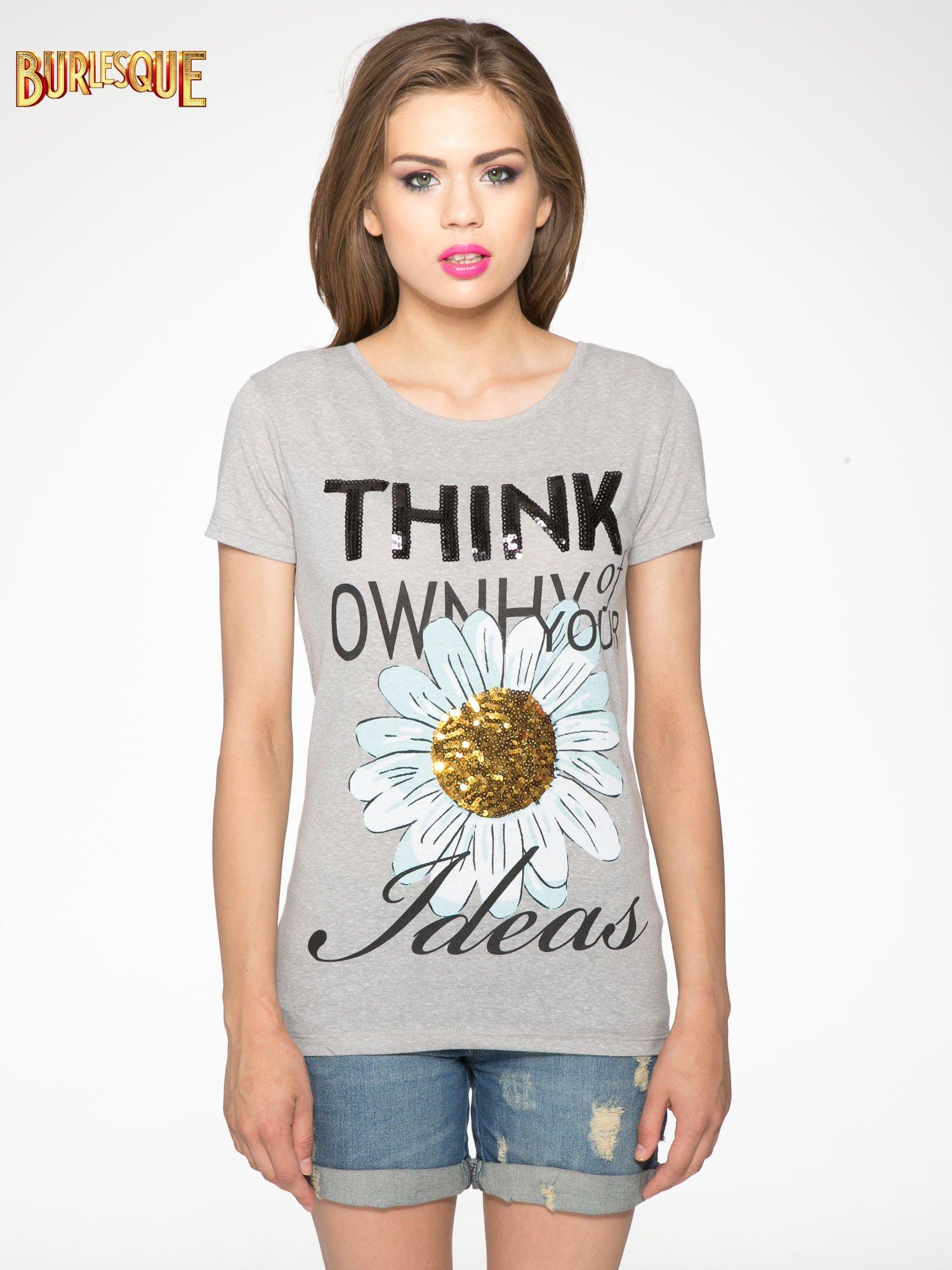 Ciemnoszary t-shirt z nadrukiem stokrotki z dżetami                                  zdj.                                  11