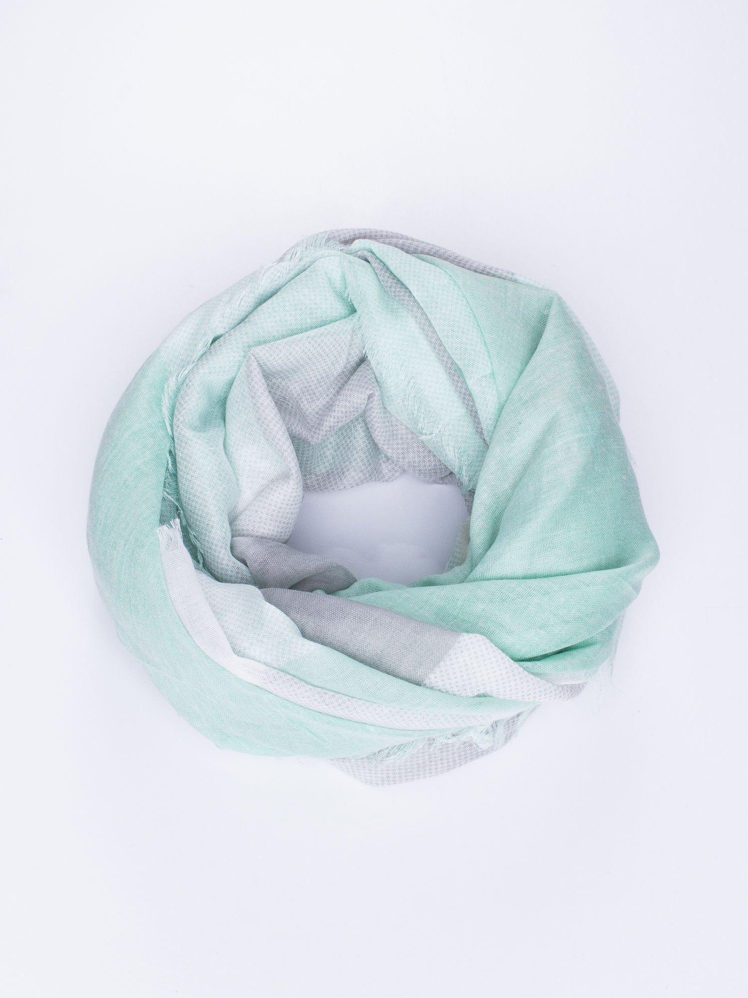 Ciemnozielona bawełniana chusta damska duża w pasy                                  zdj.                                  1
