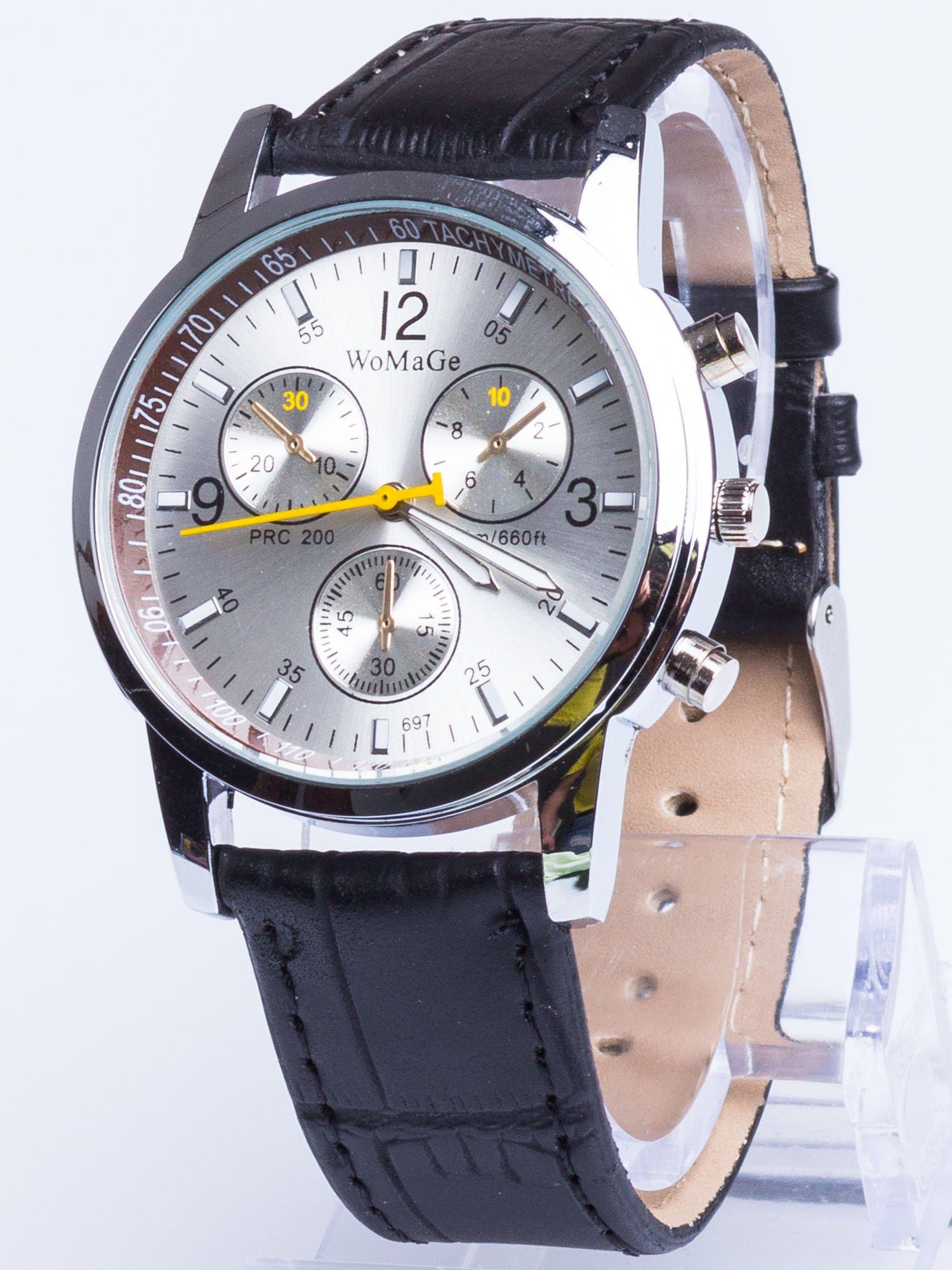 Cudny srebrny zegarek damski z ozdobnym tachometrem                                  zdj.                                  1