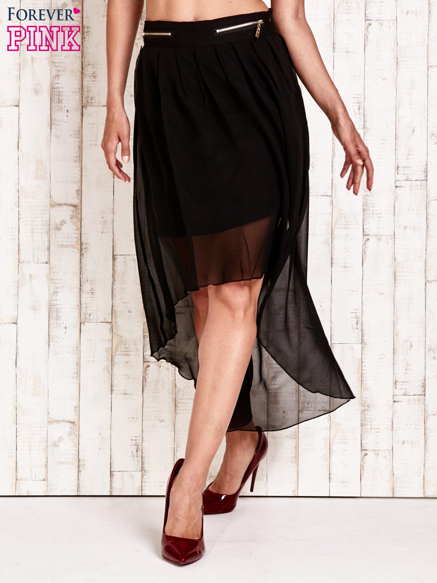 Czarna asymetryczna spódnica z suwakami                                  zdj.                                  1