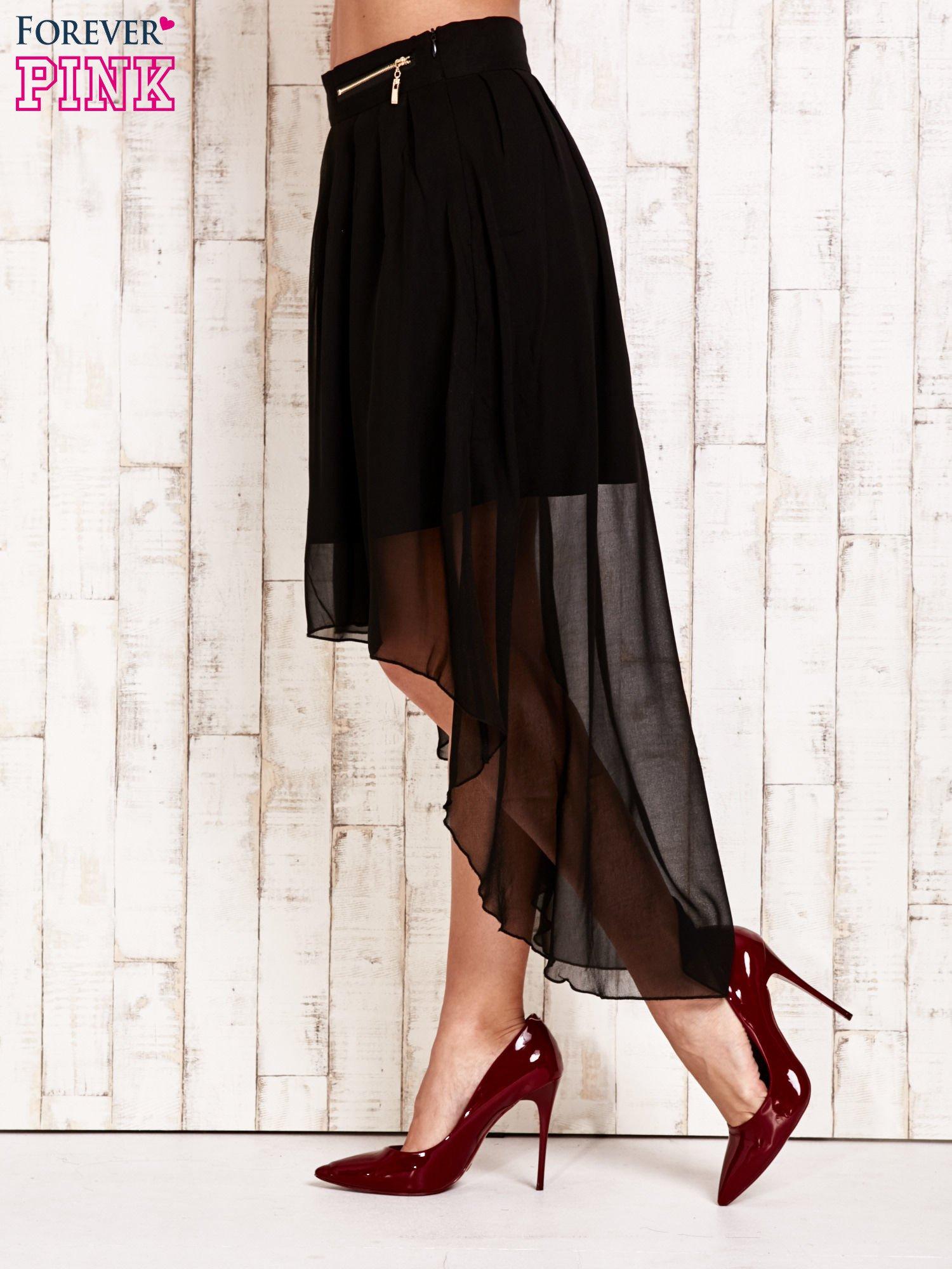 Czarna asymetryczna spódnica z suwakami                                  zdj.                                  2