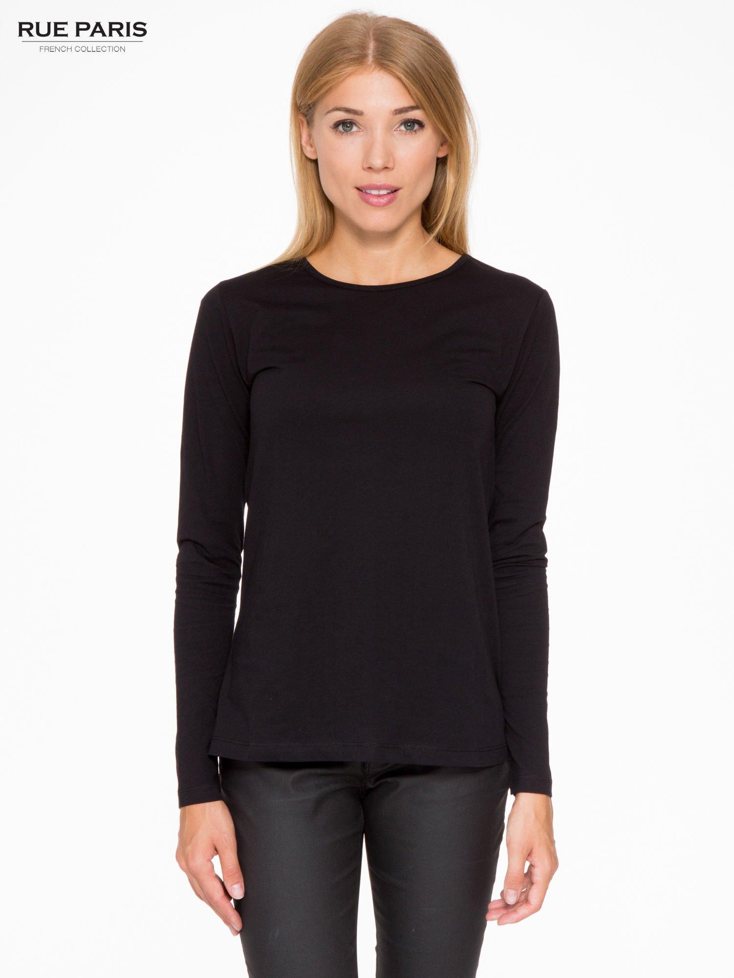 Czarna basicowa bluzka z długim rękawem                                  zdj.                                  1