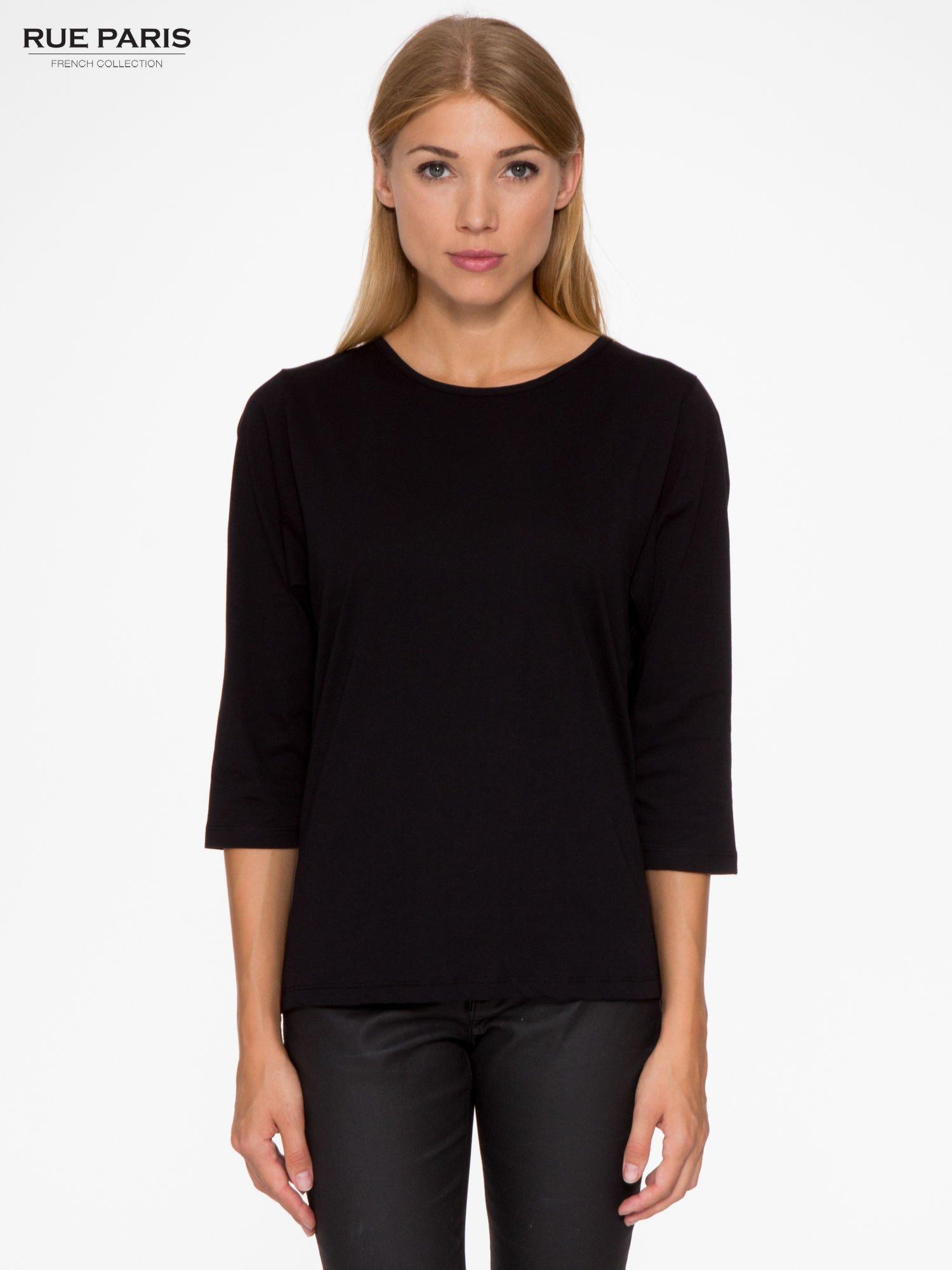 Czarna basicowa bluzka z rękawem 3/4                                  zdj.                                  1