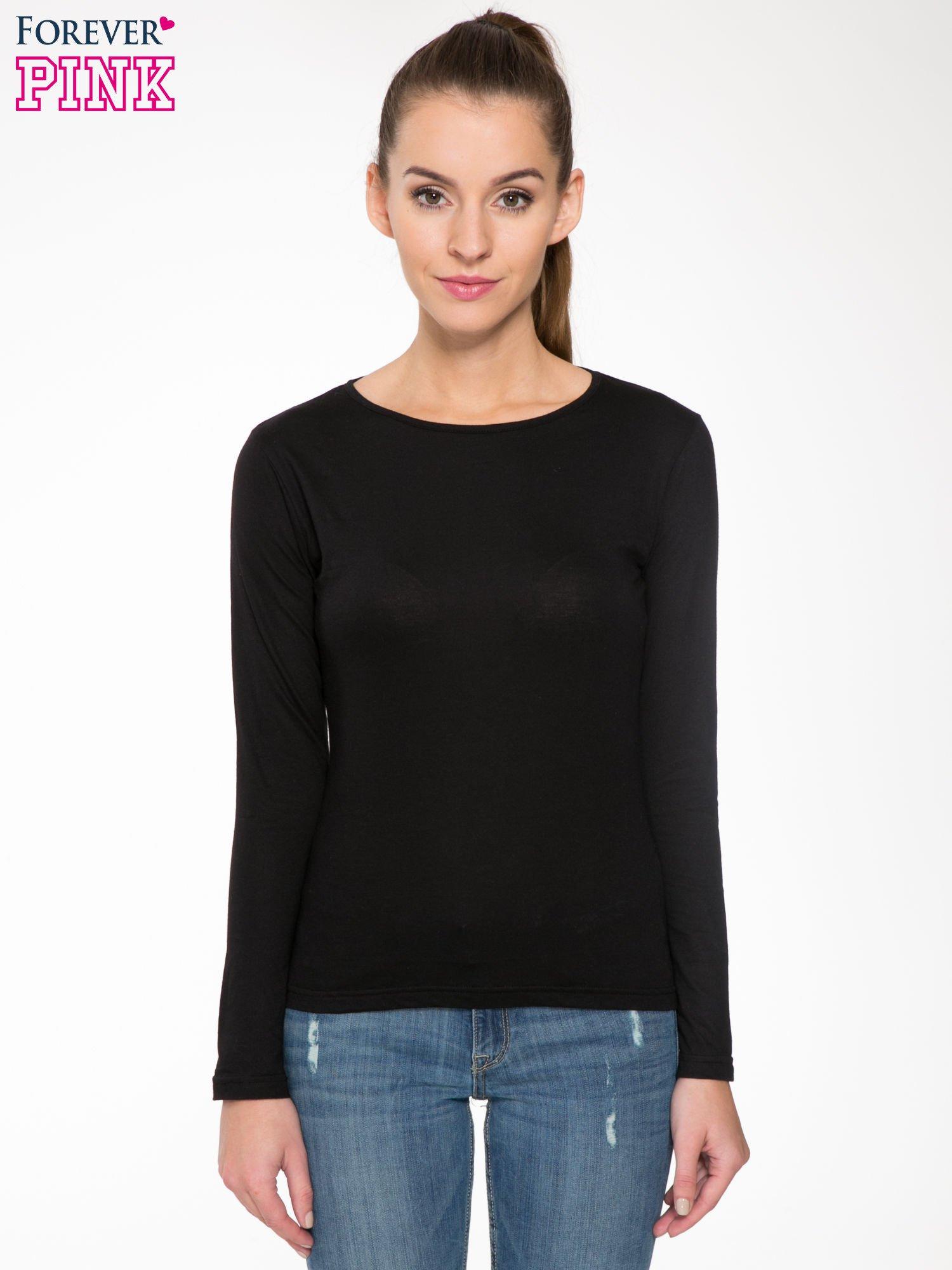 Czarna bawełniana bluzka typu basic z długim rękawem                                  zdj.                                  1