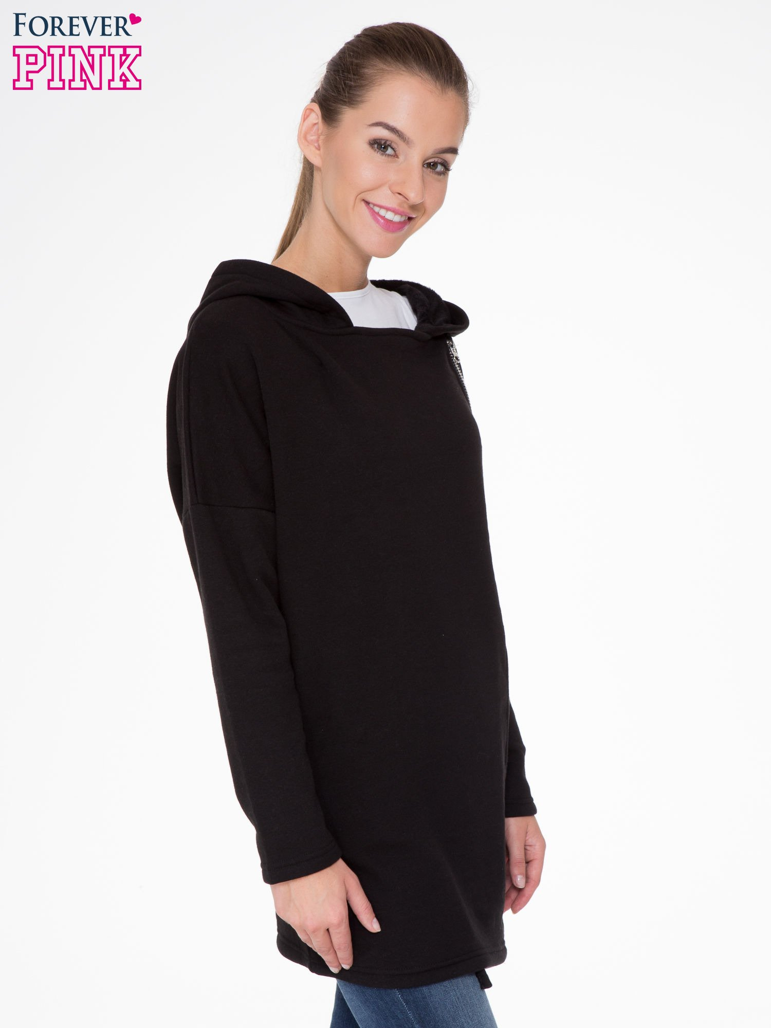 Czarna bluza dresowa z kapturem i suwakiem z boku                                  zdj.                                  3