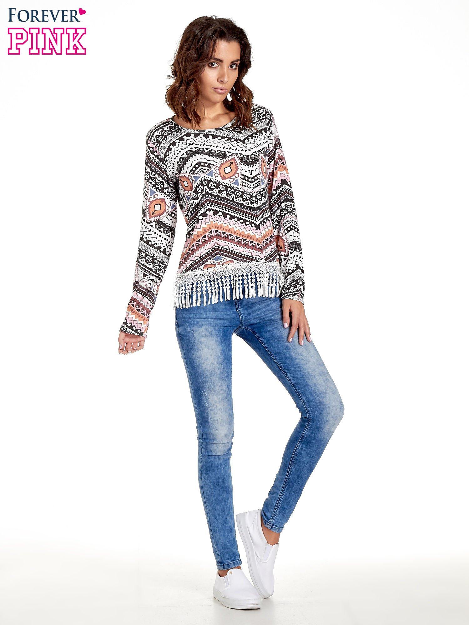 Czarna bluza w azteckie wzory z koronką z frędzlami                                  zdj.                                  7
