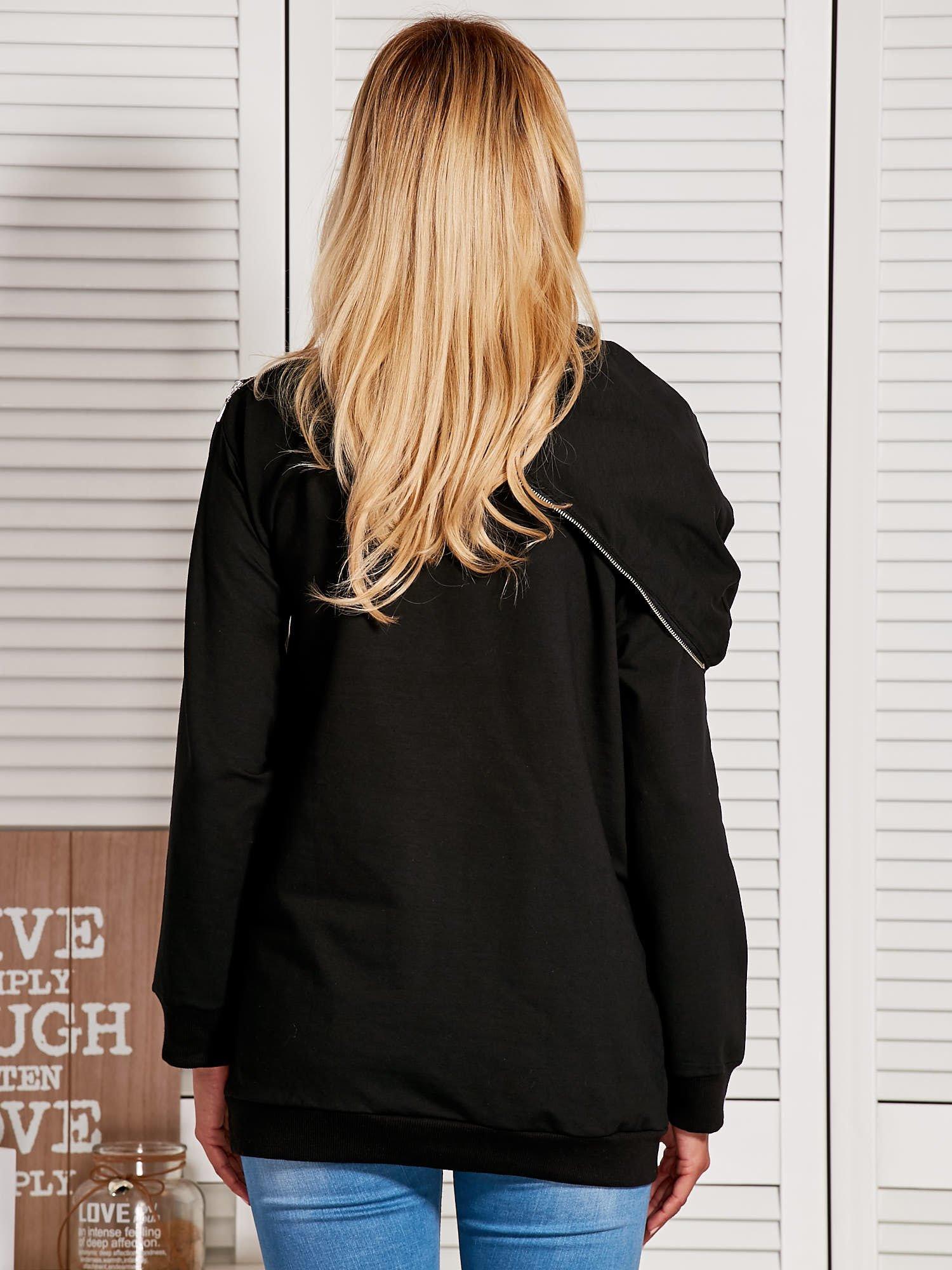 bluza z kapturem i suwakem czarna