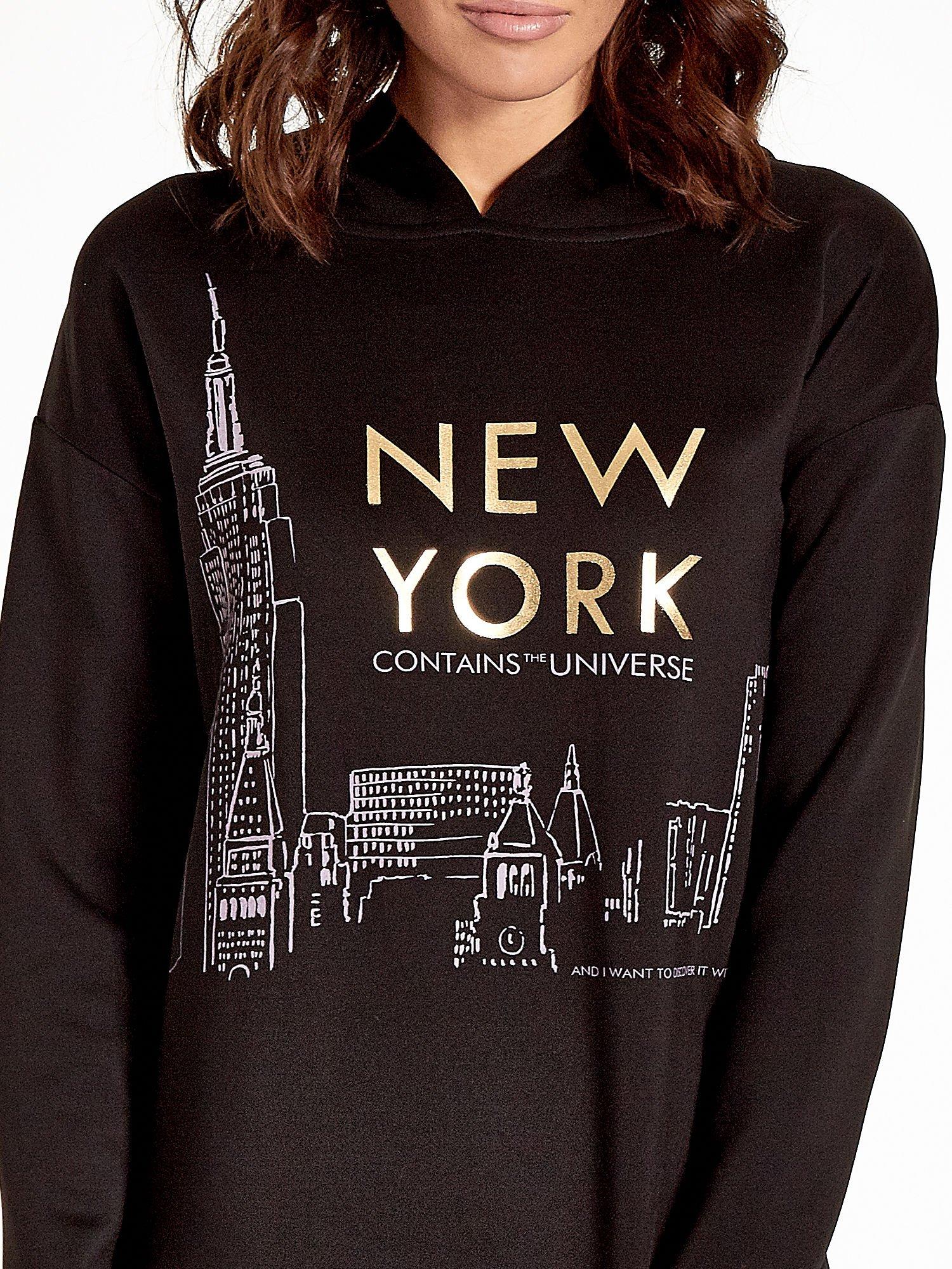 Czarna bluza z nadrukiem NEW YORK                                  zdj.                                  6
