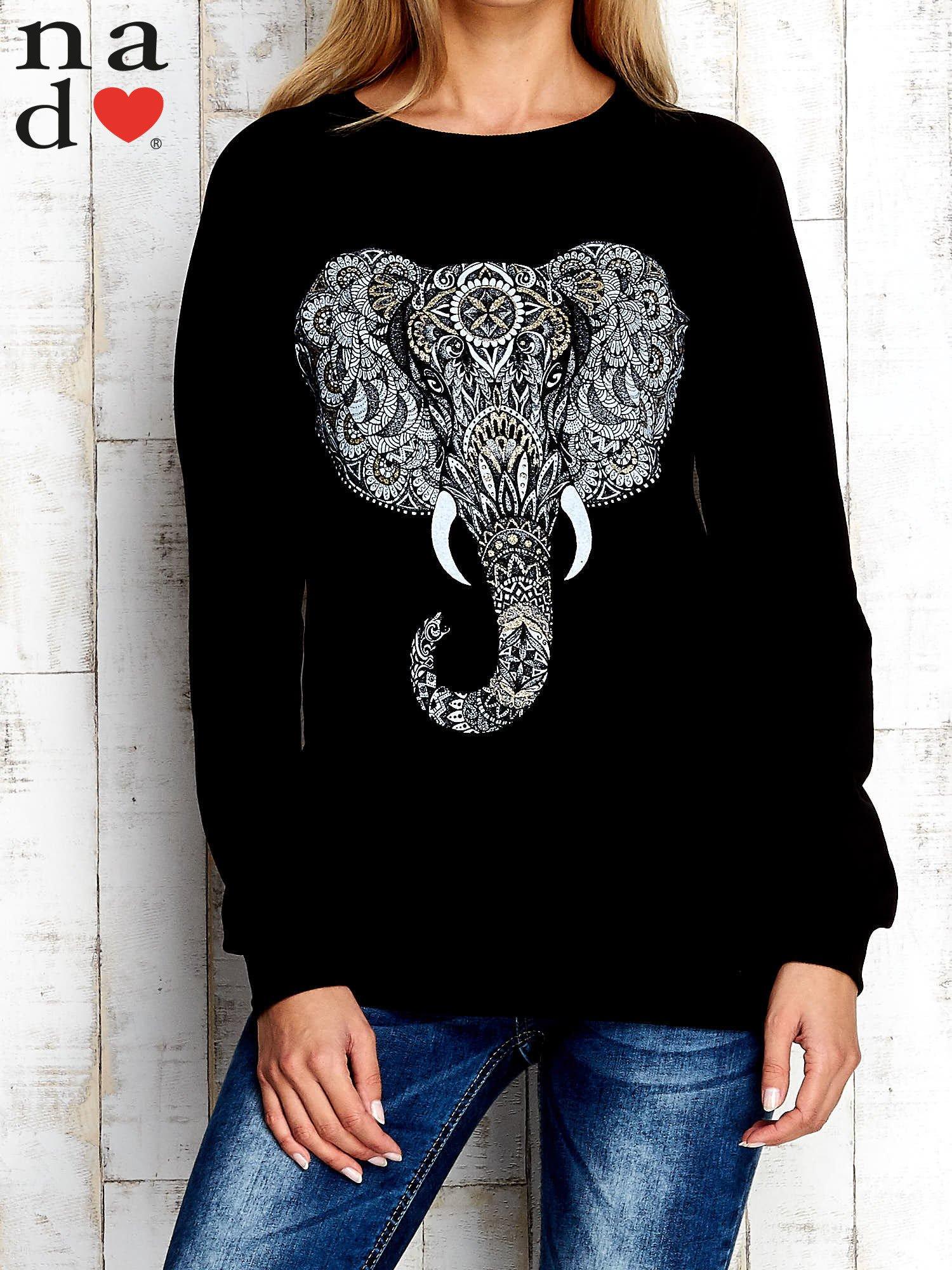 Czarna bluza z nadrukiem słonia                                  zdj.                                  1