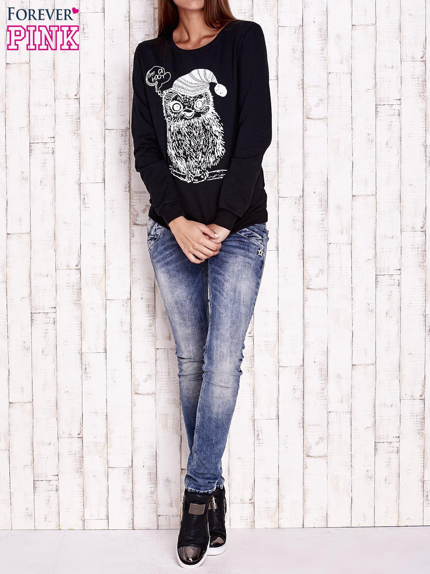 Czarna bluza ze zwierzęcym nadrukiem                                  zdj.                                  2