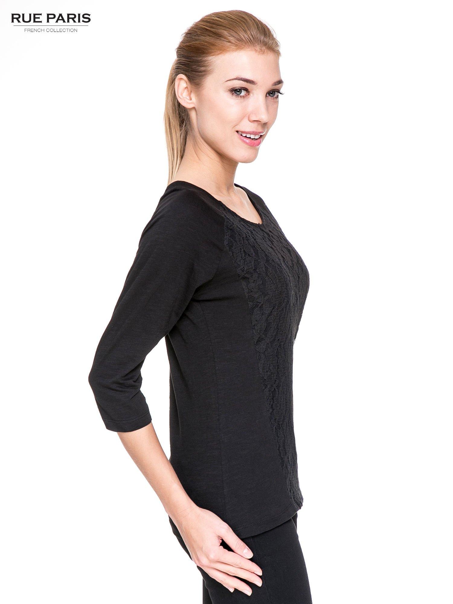 Czarna bluzka z koronkowym przodem                                  zdj.                                  3