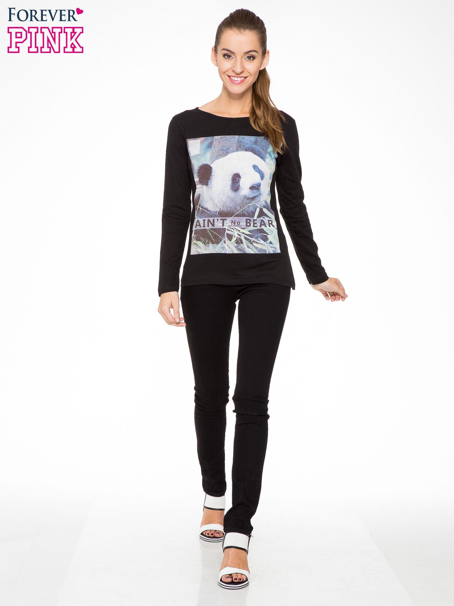 Czarna bluzka z nadrukiem pandy                                  zdj.                                  2