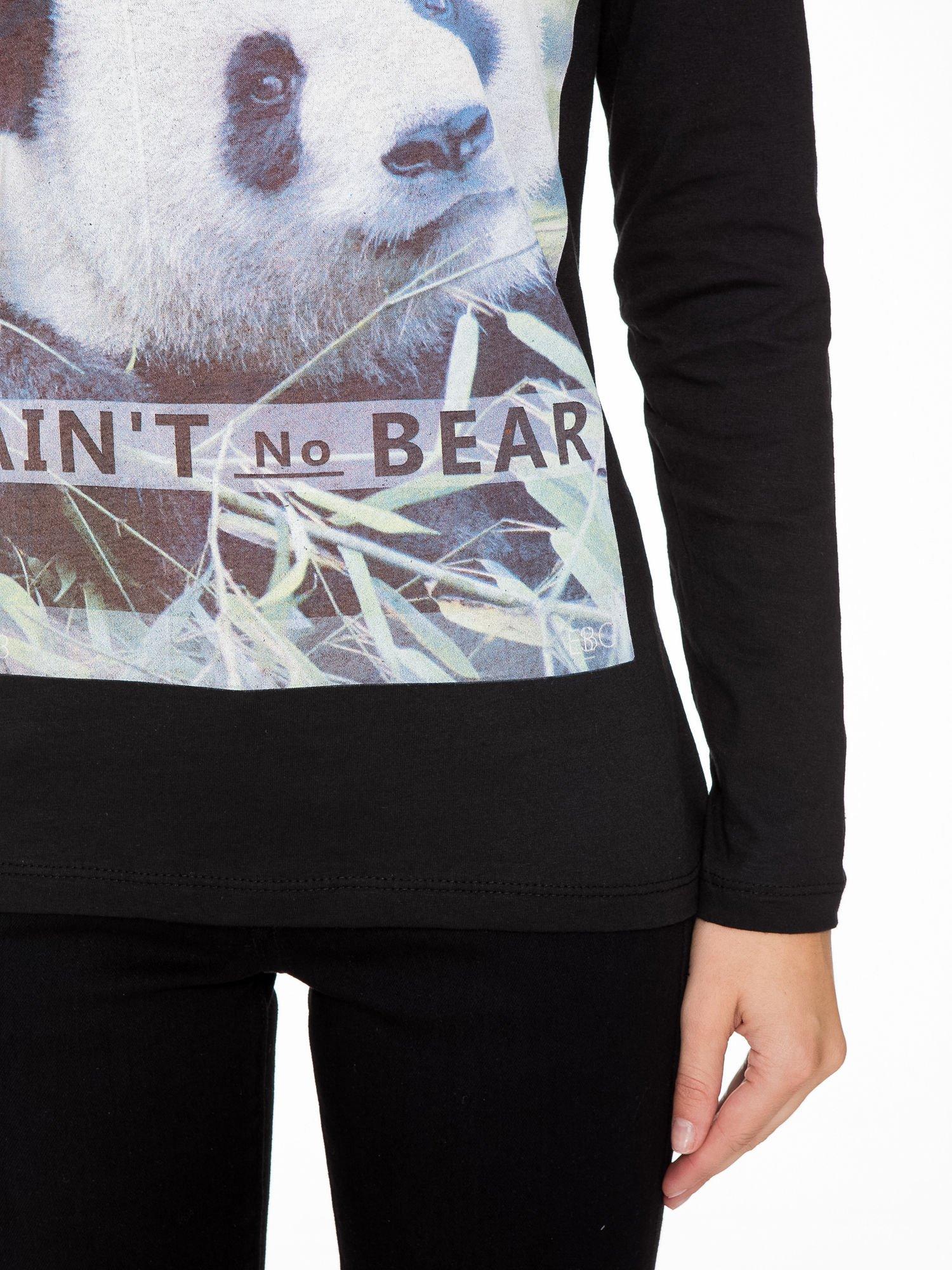 Czarna bluzka z nadrukiem pandy                                  zdj.                                  7