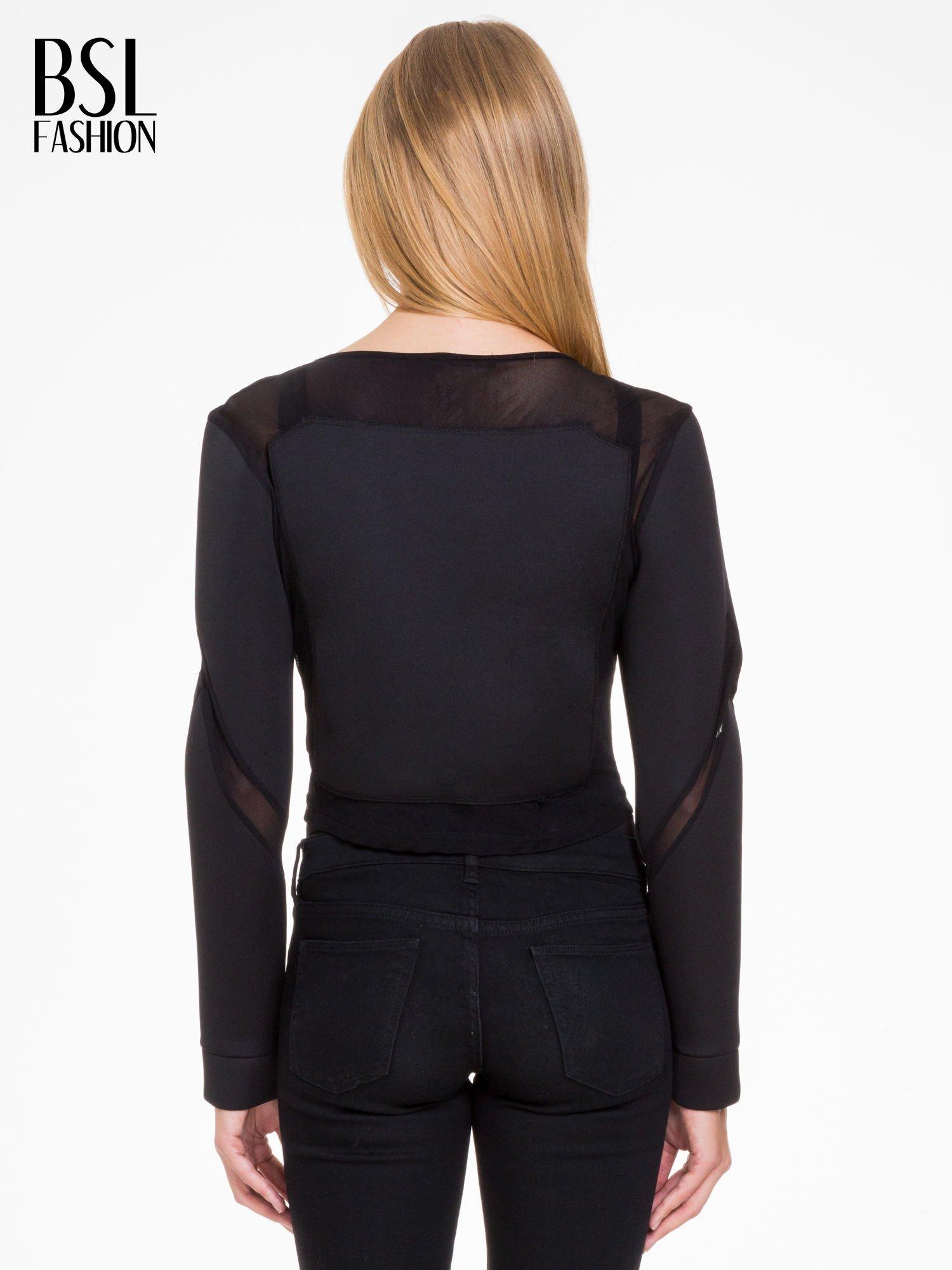 Czarna bluzka z neoprenu z tiulowymi wstawkami                                  zdj.                                  4