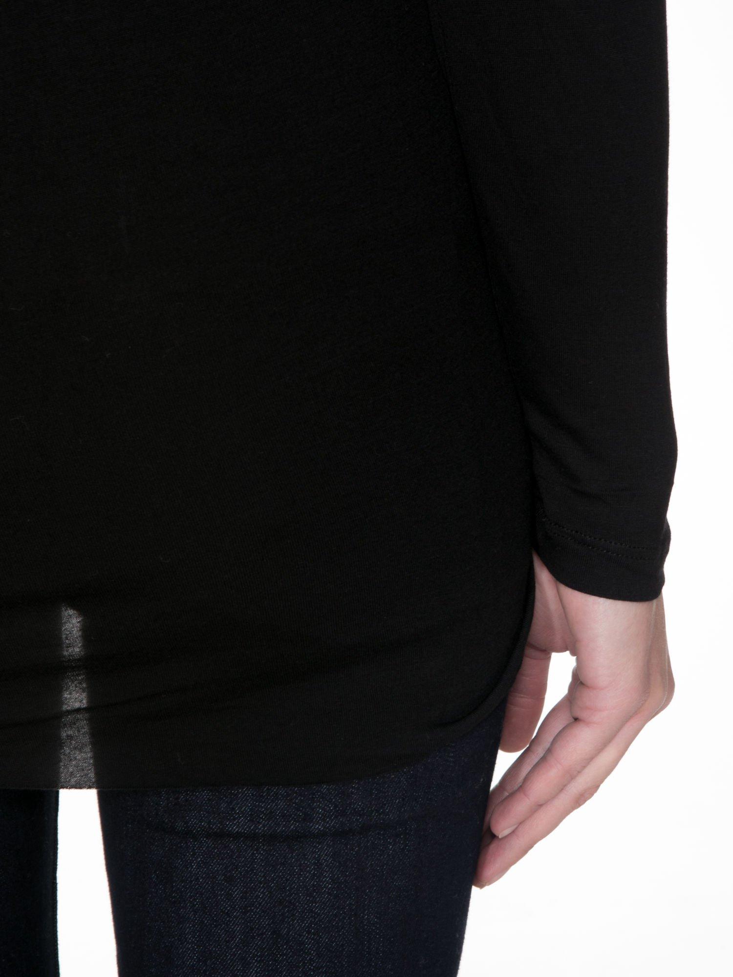 Czarna bluzka z przodem z ekoskóry                                  zdj.                                  9