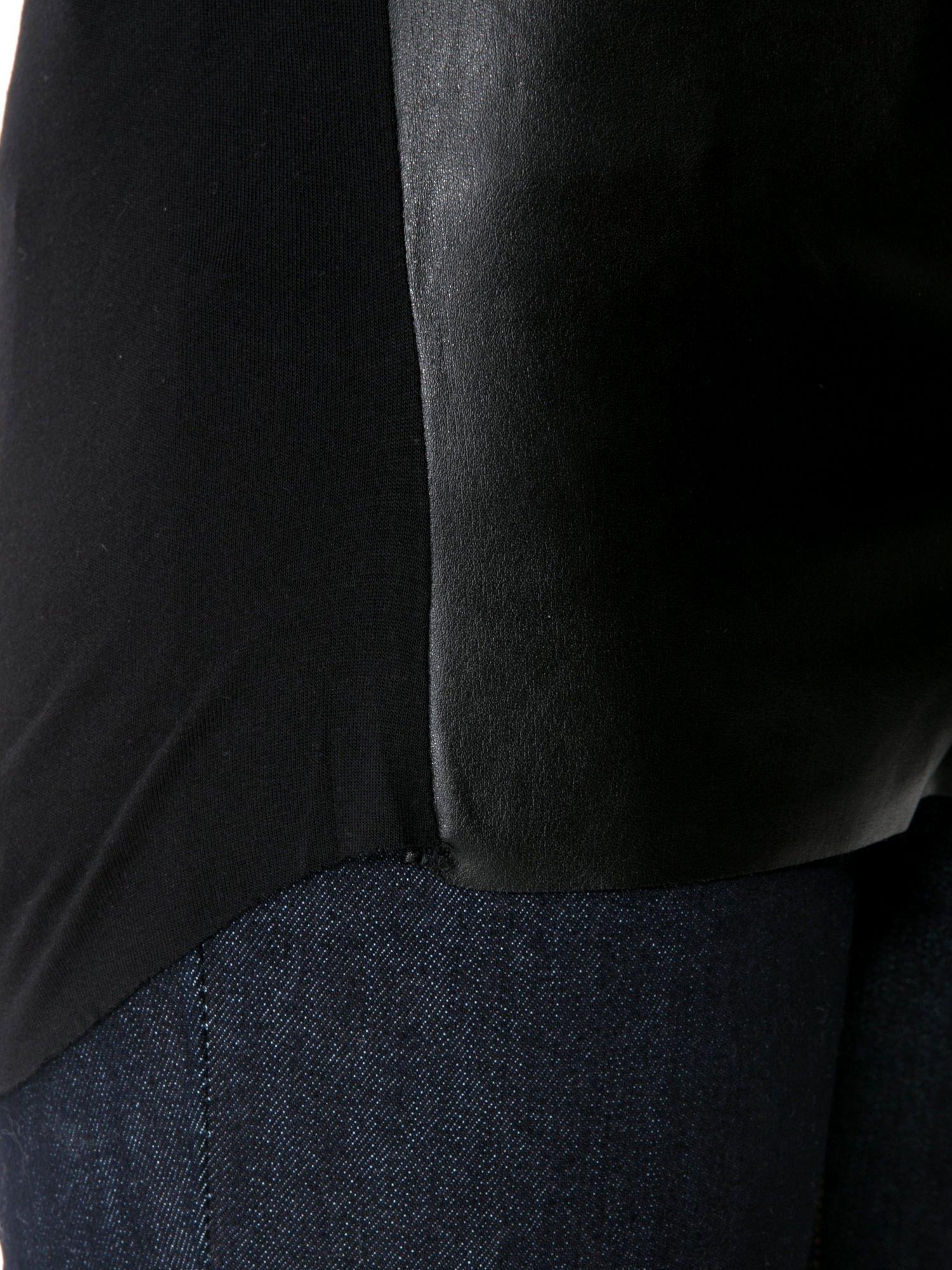 Czarna bluzka z przodem z ekoskóry                                  zdj.                                  10