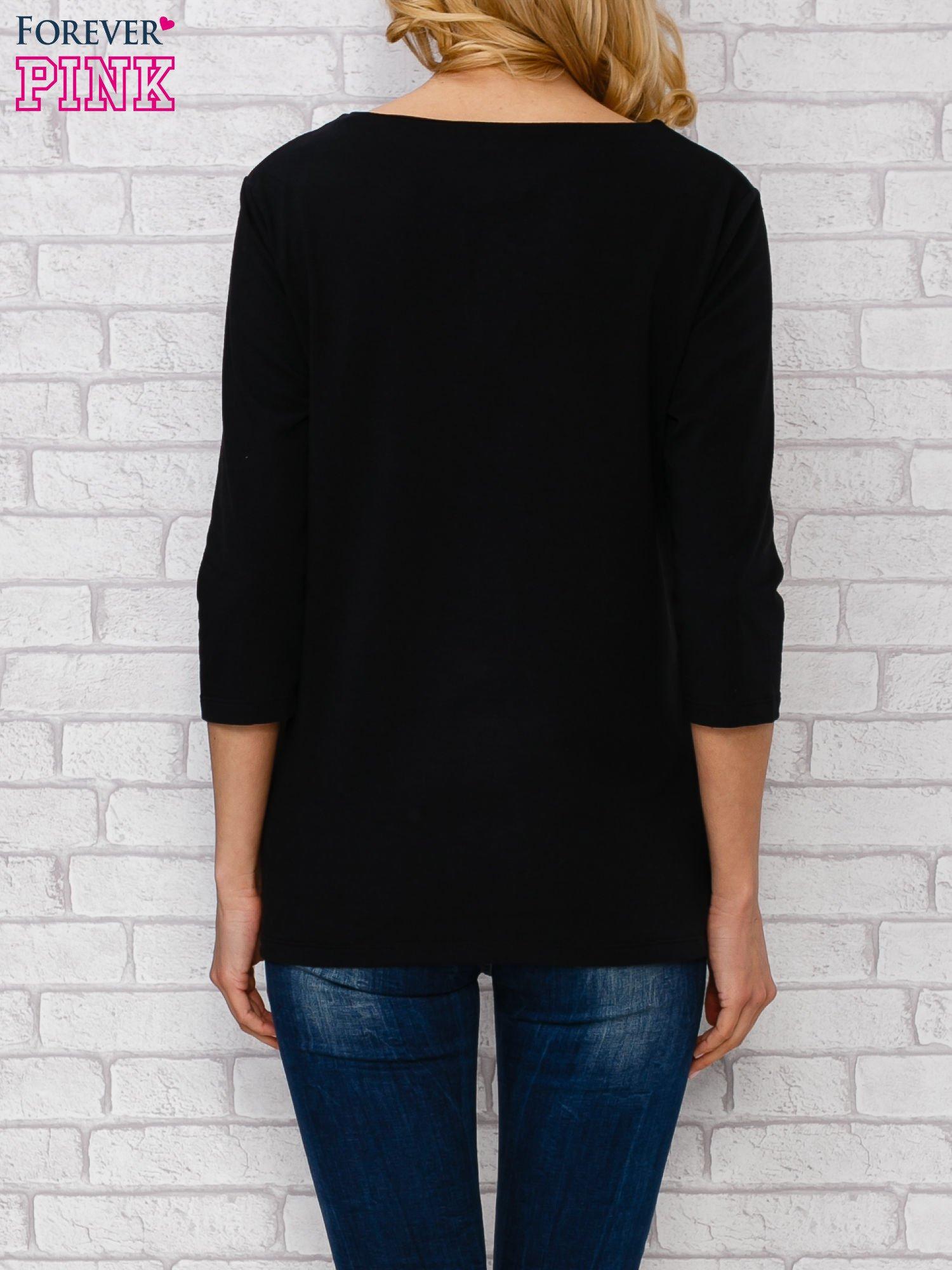 Czarna bluzka ze sznurowanym dekoltem                                  zdj.                                  4