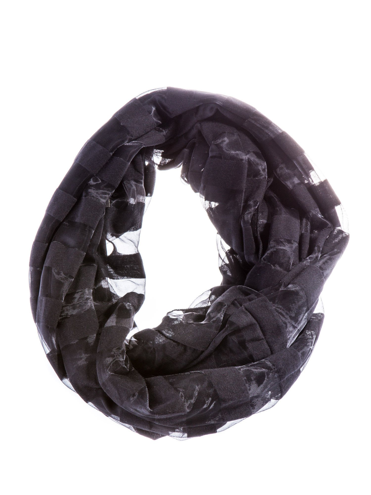 Czarna chusta komin w transparentne paski                                  zdj.                                  2