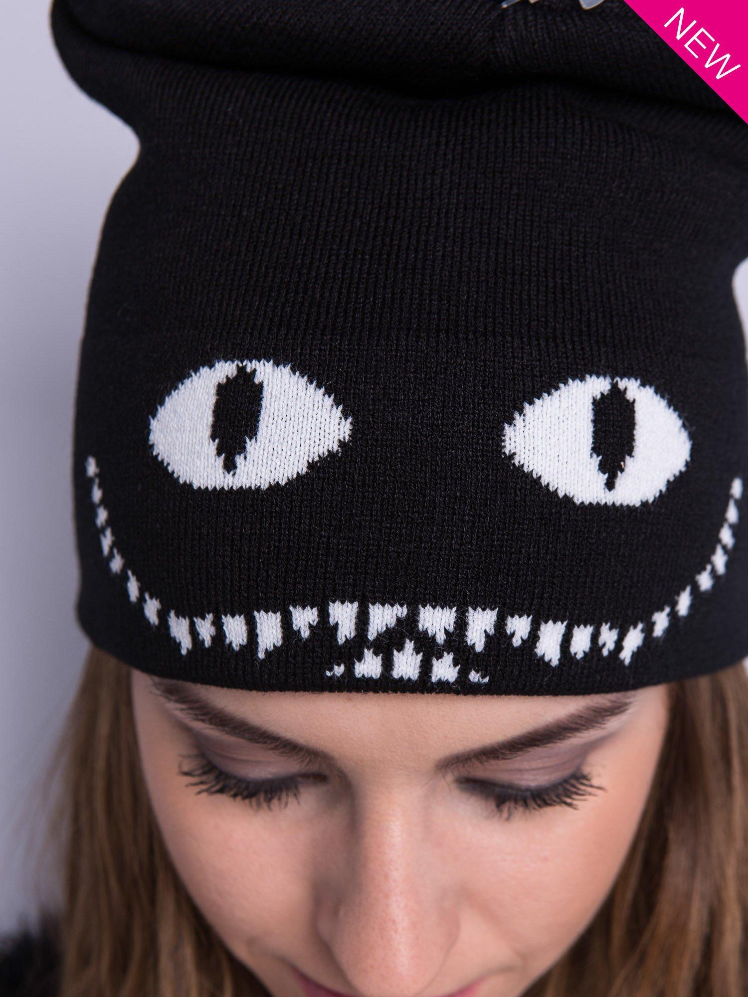 Czarna czapka beanie z oczami i z uśmiechem                                  zdj.                                  3
