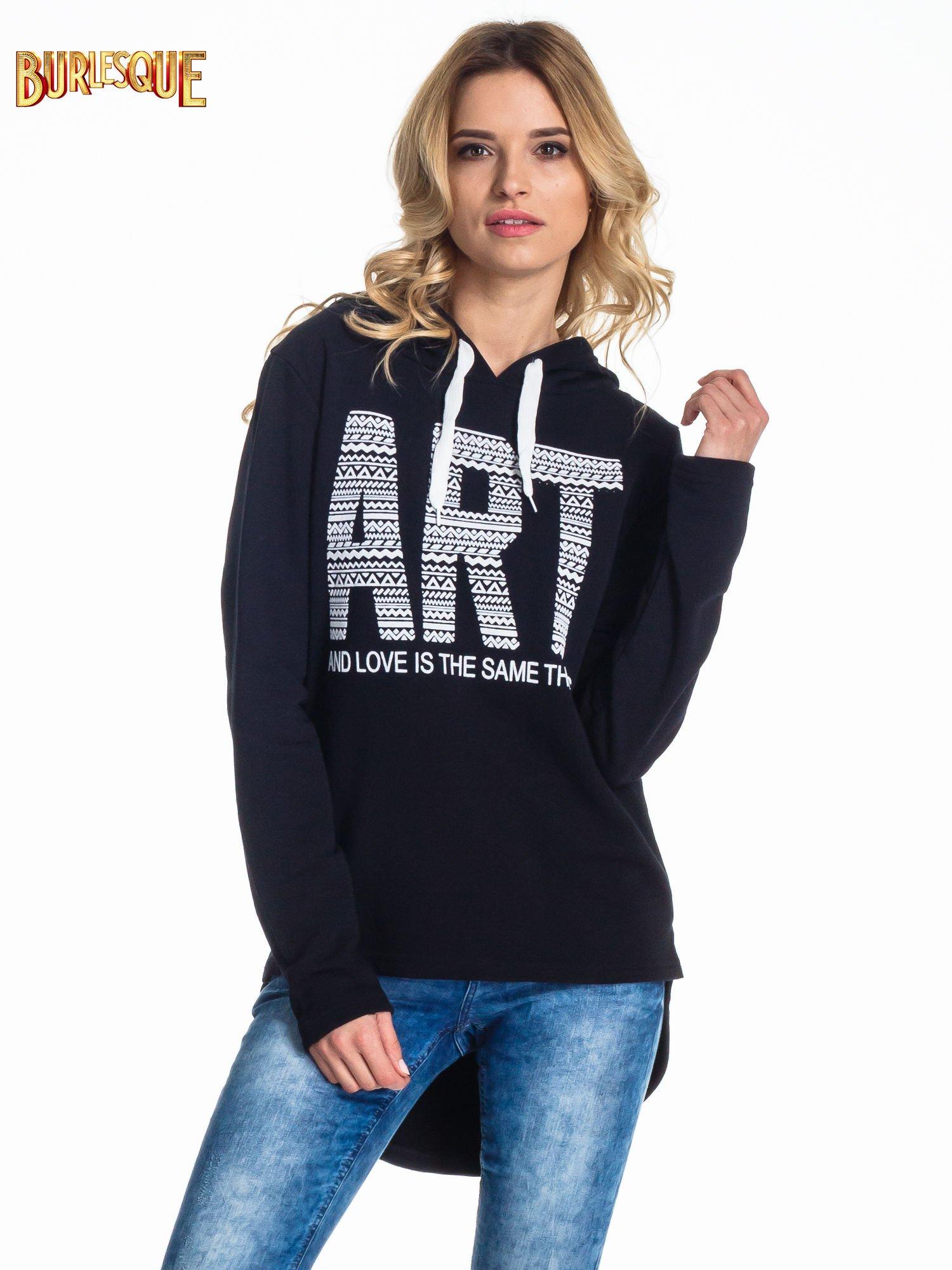 Czarna damska bluza z kapturem i napisem ART                                  zdj.                                  1