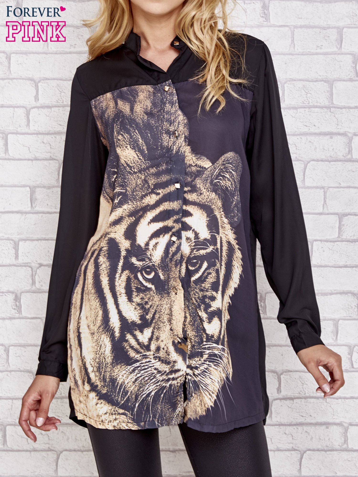 Czarna długa koszula z nadrukiem tygrysa                                  zdj.                                  1