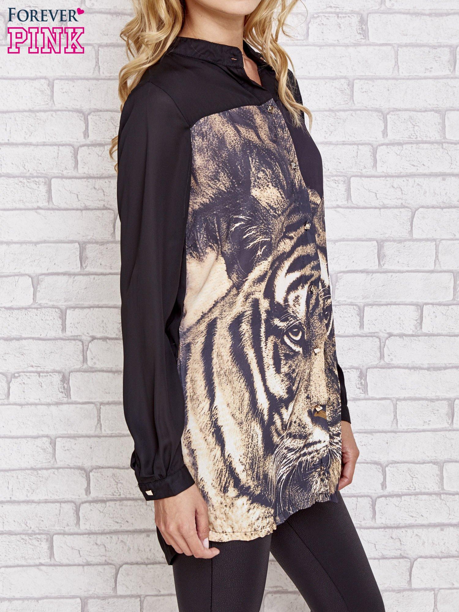 Czarna długa koszula z nadrukiem tygrysa                                  zdj.                                  3