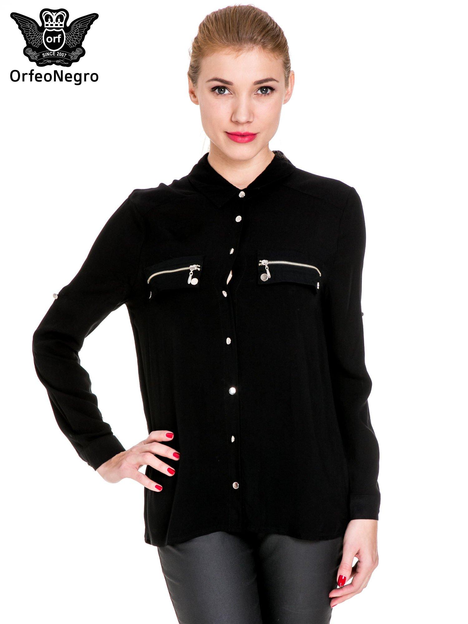 Czarna elegancka koszula z suwakami i napami                                  zdj.                                  1