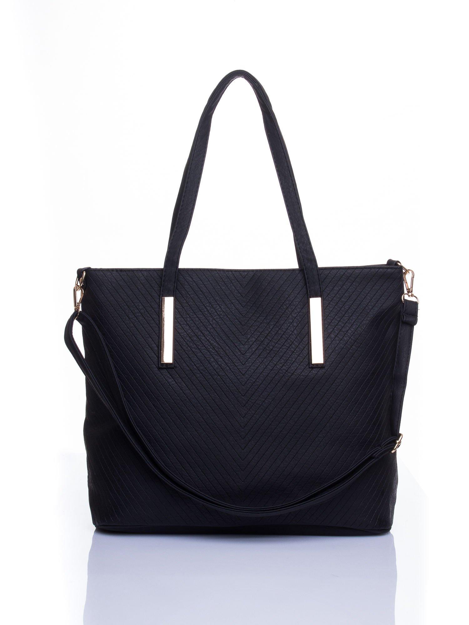 Czarna fakturowana torba shopper bag                                  zdj.                                  1