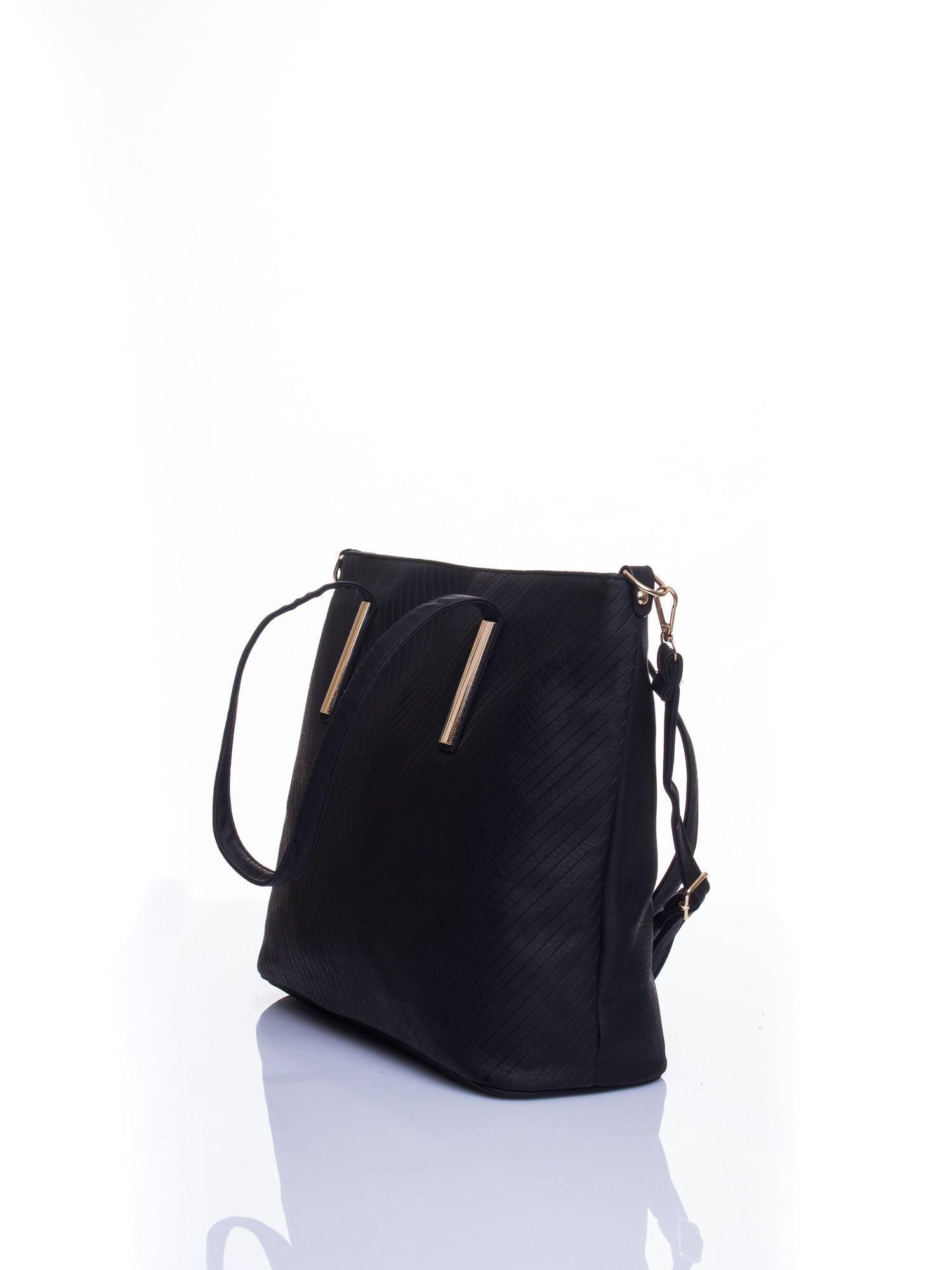 Czarna fakturowana torba shopper bag                                  zdj.                                  4