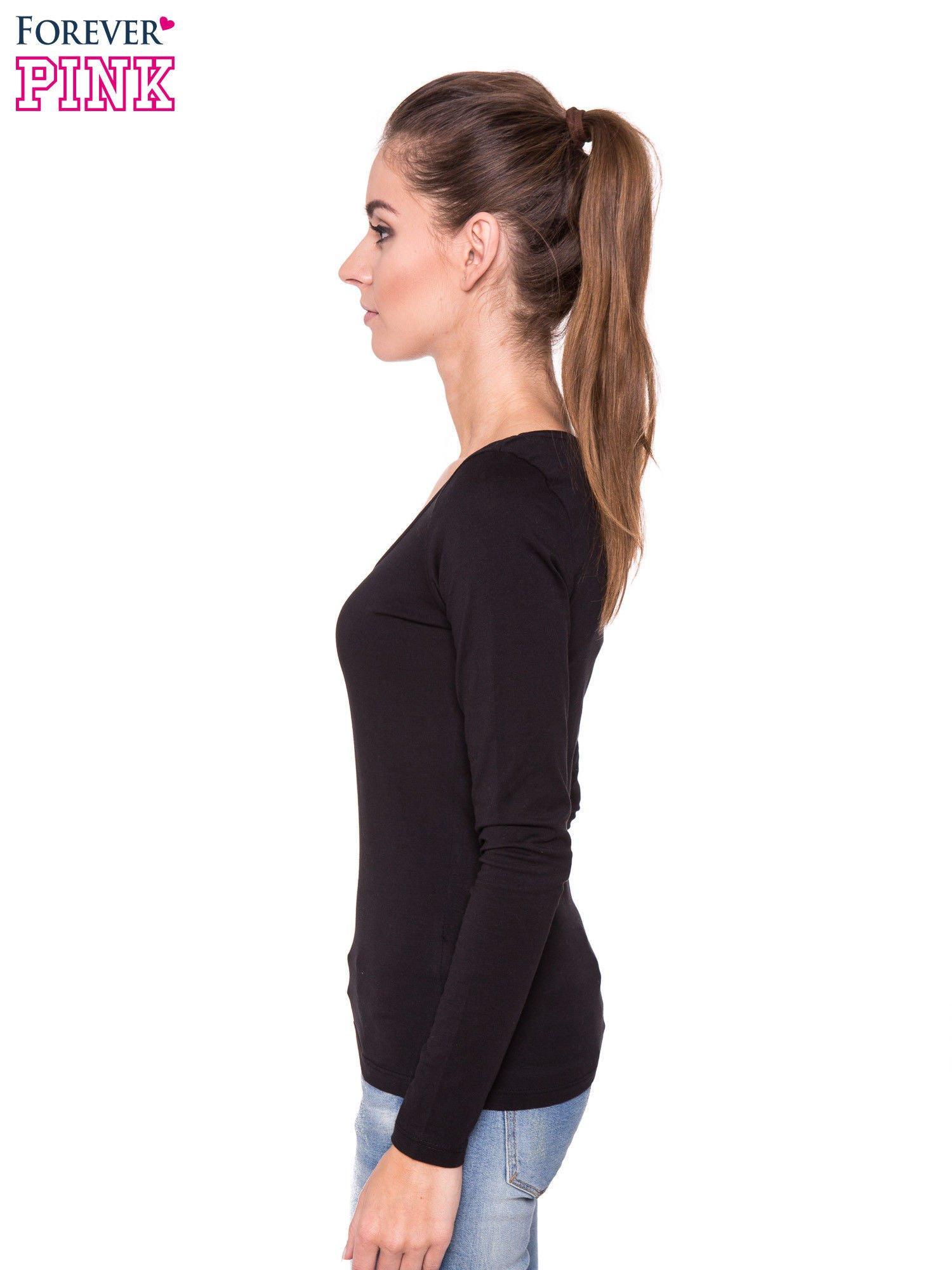 Czarna gładka bluzka z długim rękawem                                  zdj.                                  2
