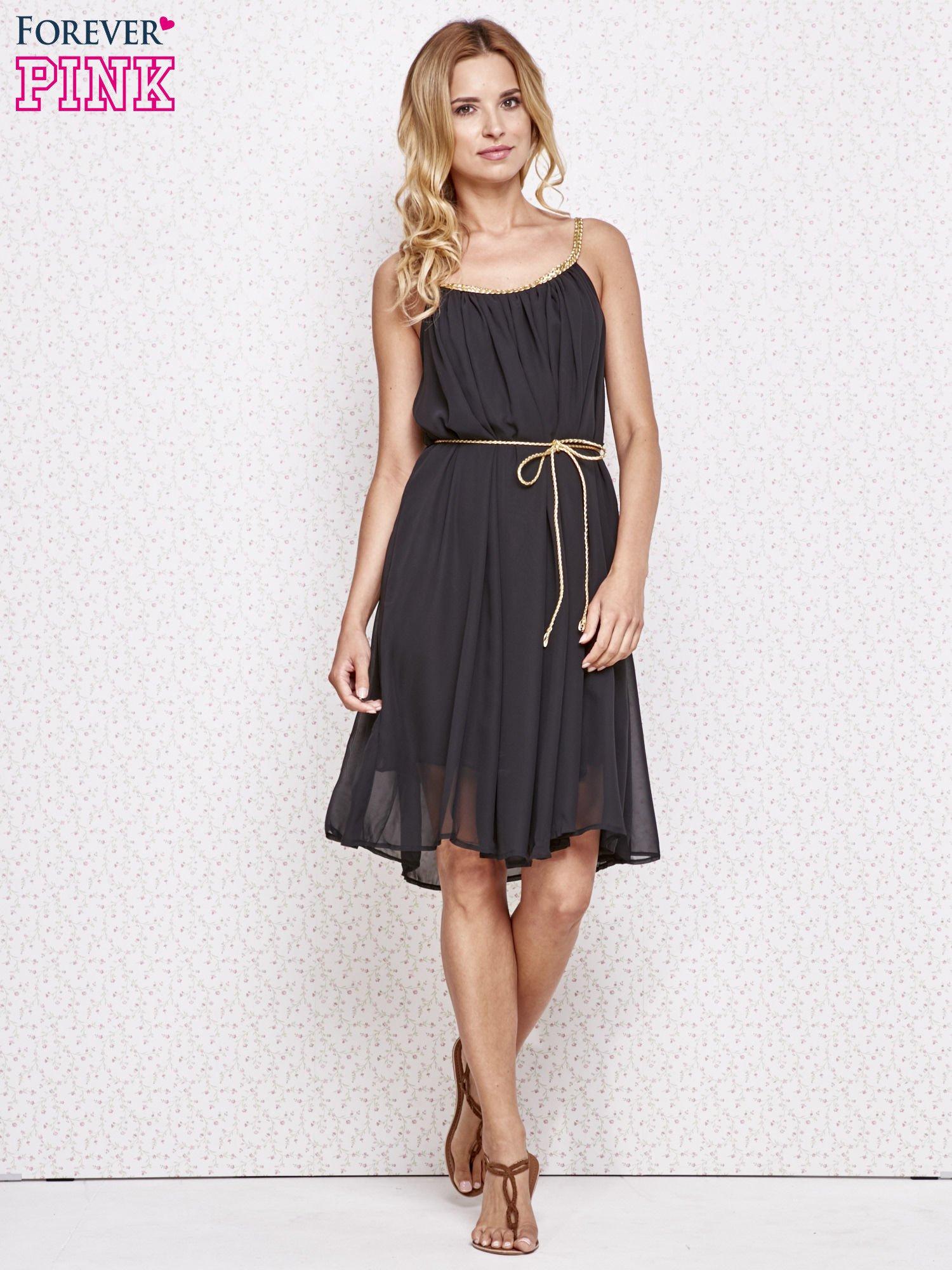 Czarna grecka sukienka ze złotym paskiem                                  zdj.                                  2