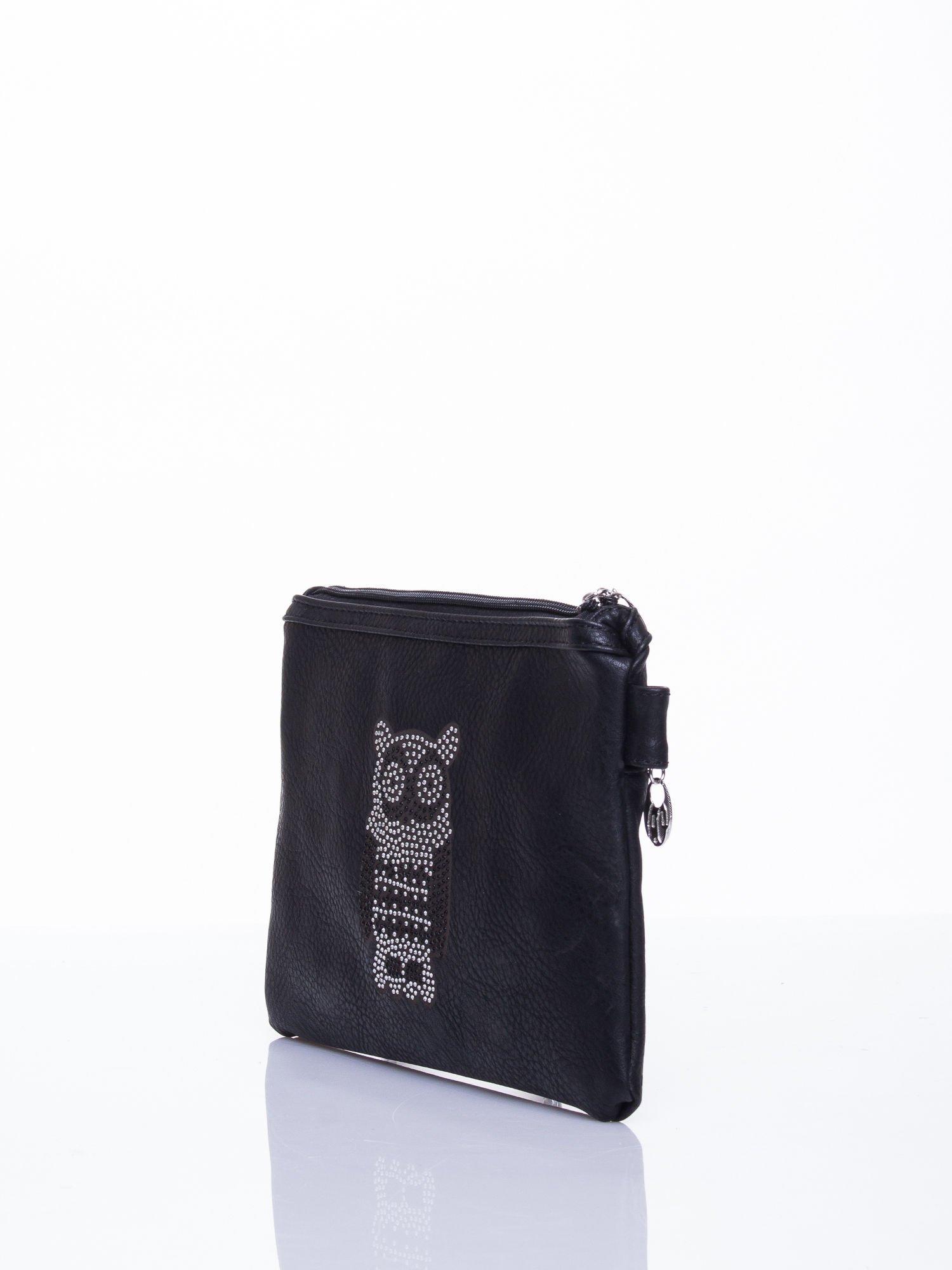 Czarna kopertówka z dżetami motyw sowy                                  zdj.                                  3