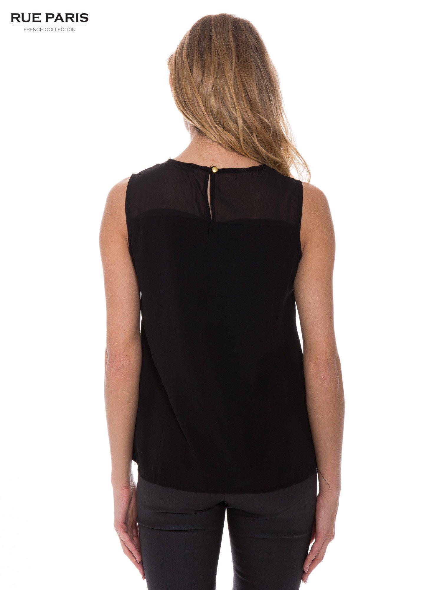 Czarna koszula bez rękawów z tiulową wstawką z przodu                                  zdj.                                  3
