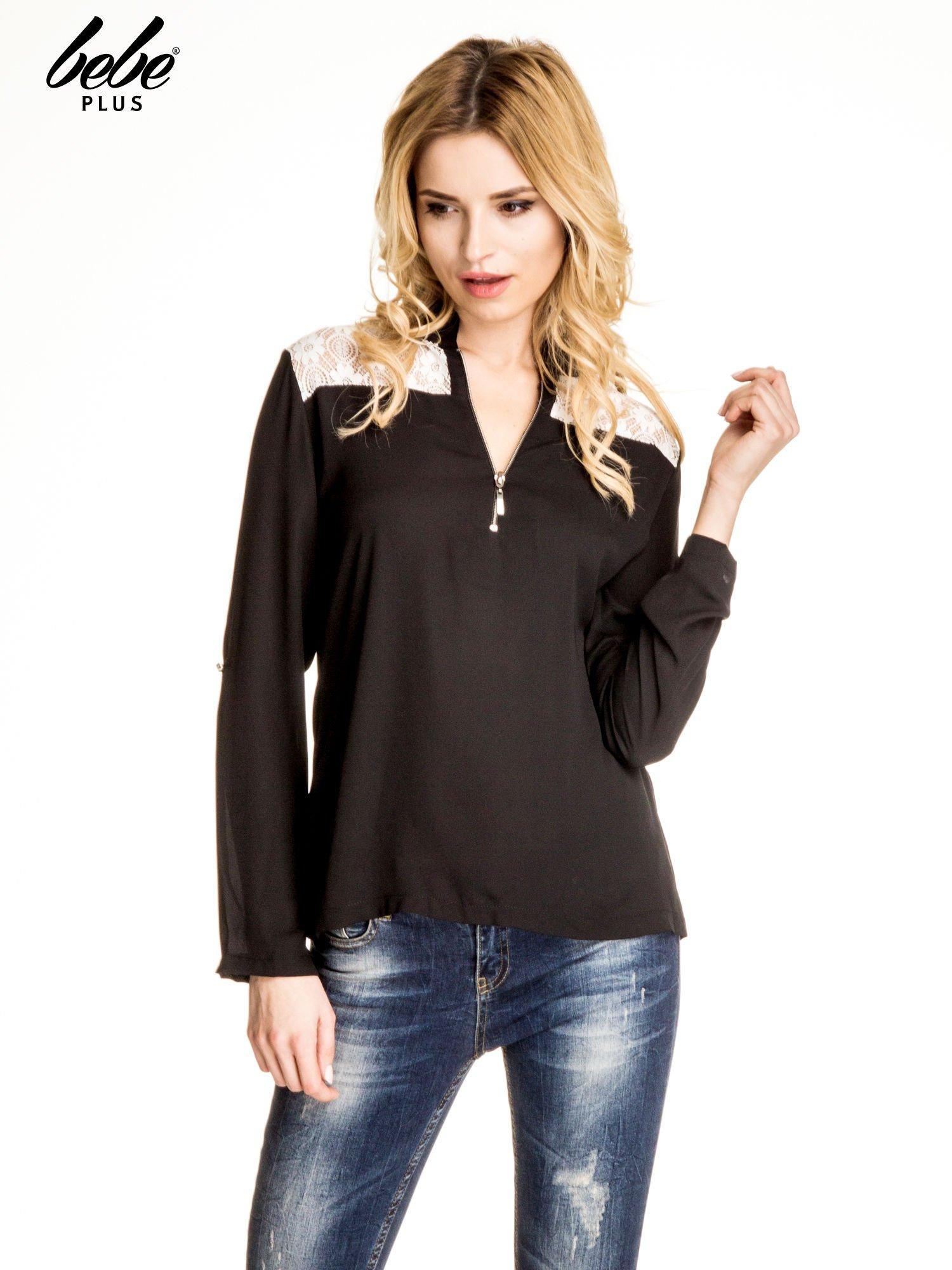 Czarna koszula z koronką i suwakiem                                  zdj.                                  1