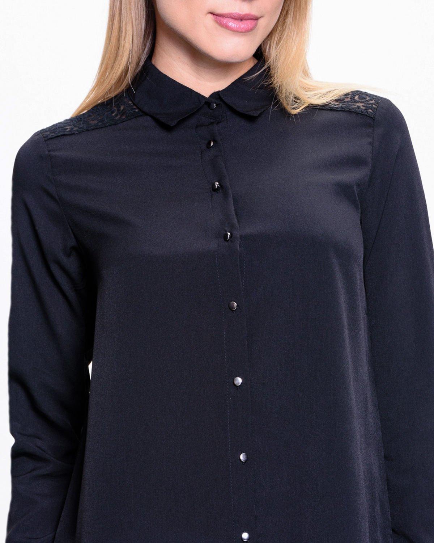 Czarna koszula z koronkową wstawką przy ramionach                                  zdj.                                  6