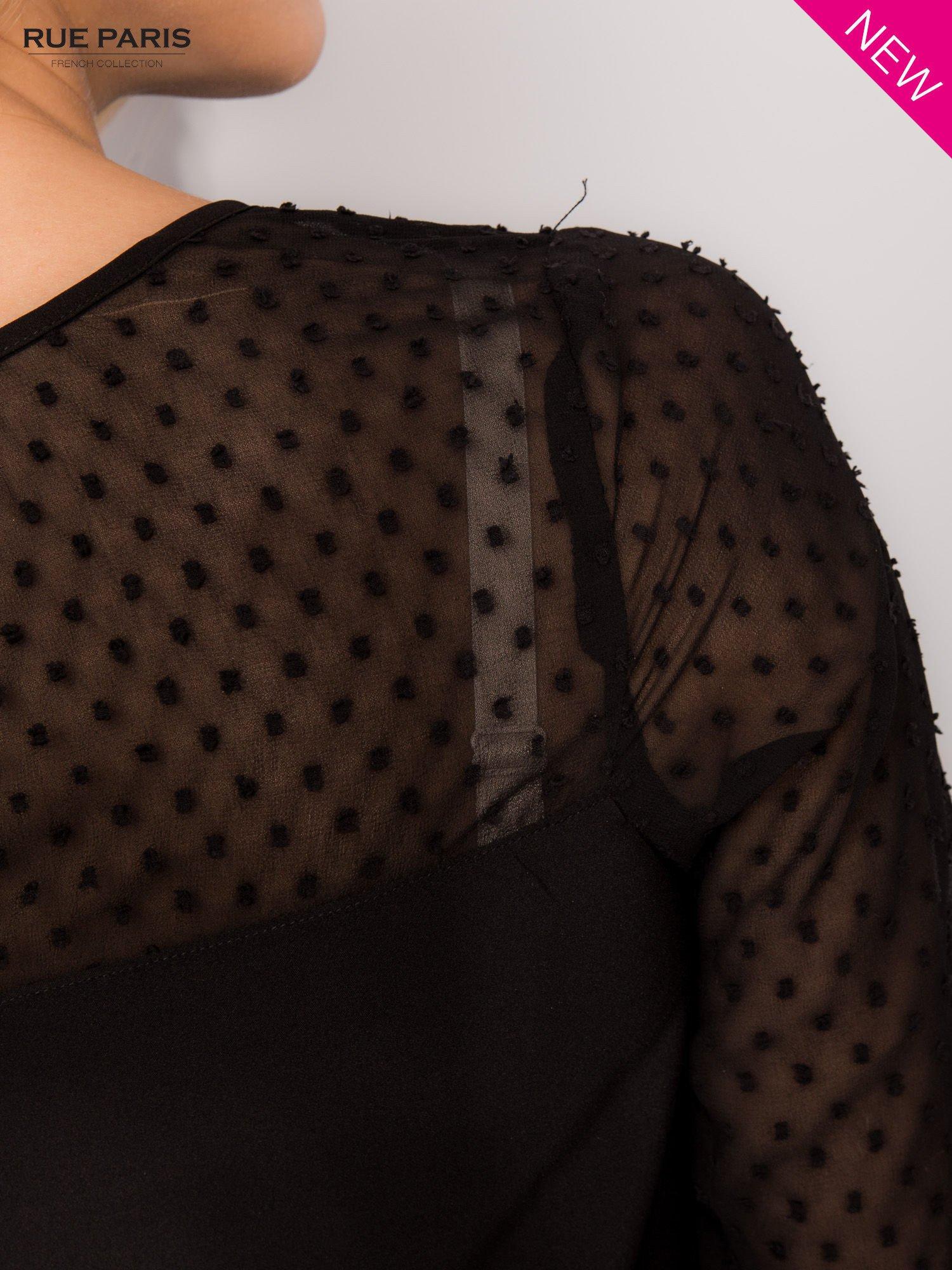 Czarna koszula z przezroczystym materiałem w groszki                                  zdj.                                  6